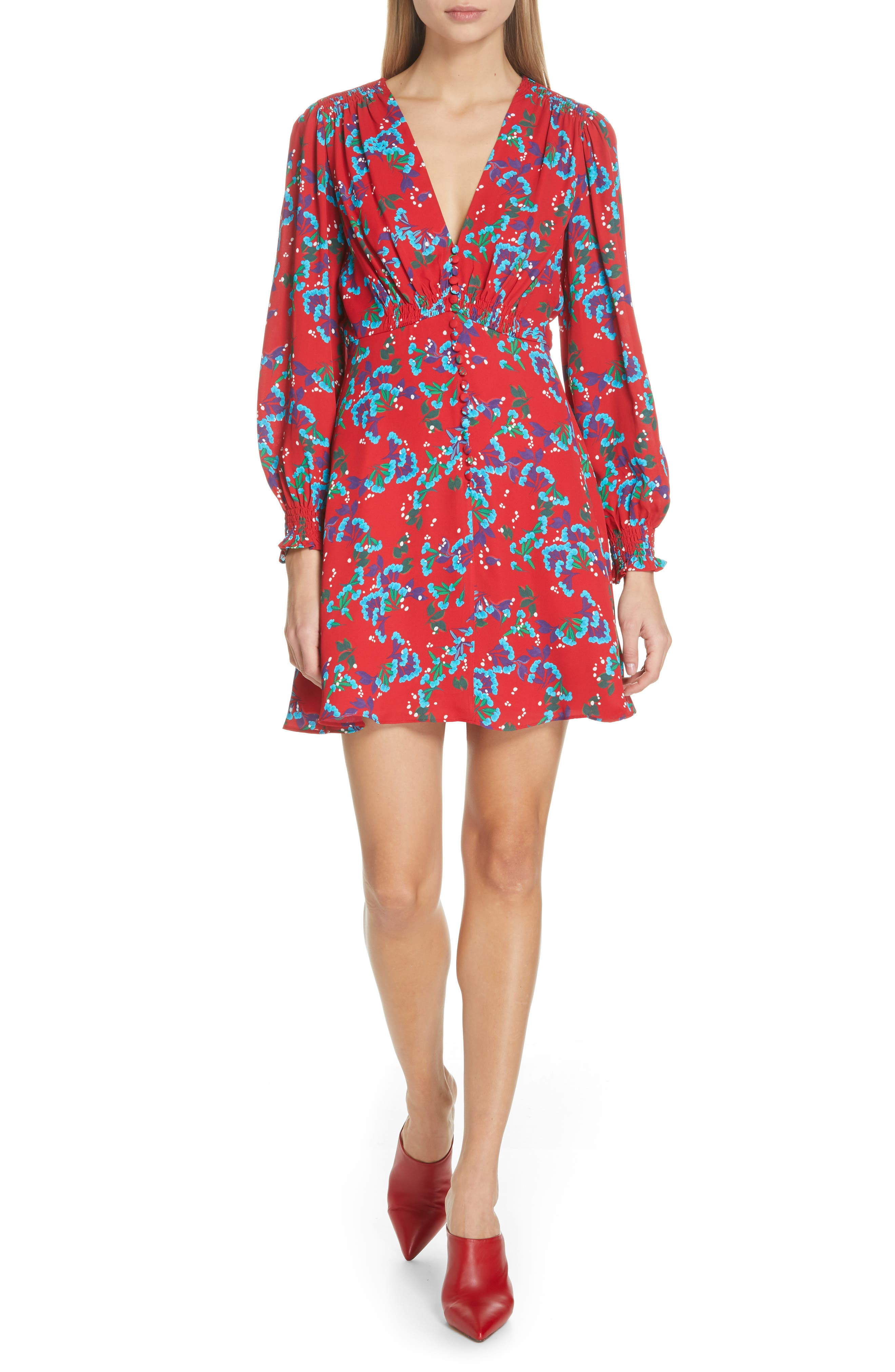 Eve Floral Print Dress,                             Main thumbnail 1, color,                             SCARLET SWEETPEAS