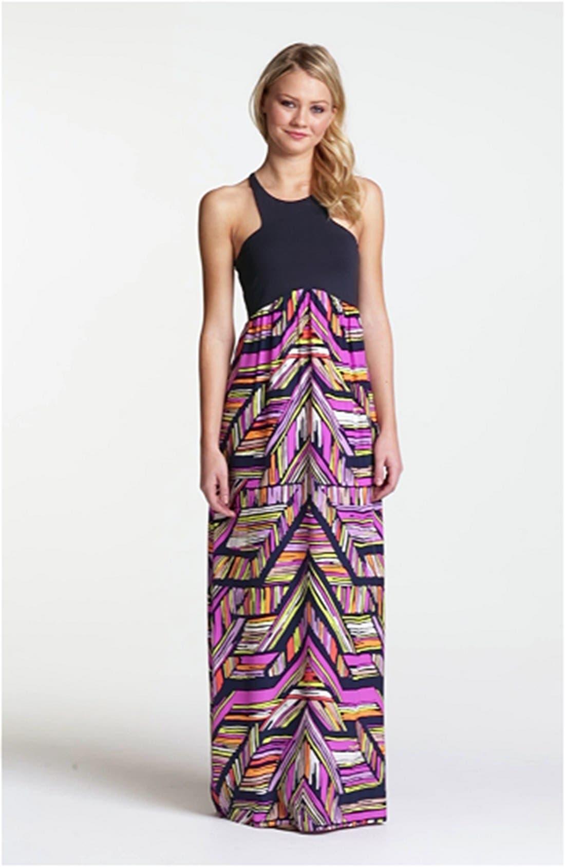 'Nia' Print Cutaway Maxi Dress,                             Alternate thumbnail 3, color,                             410
