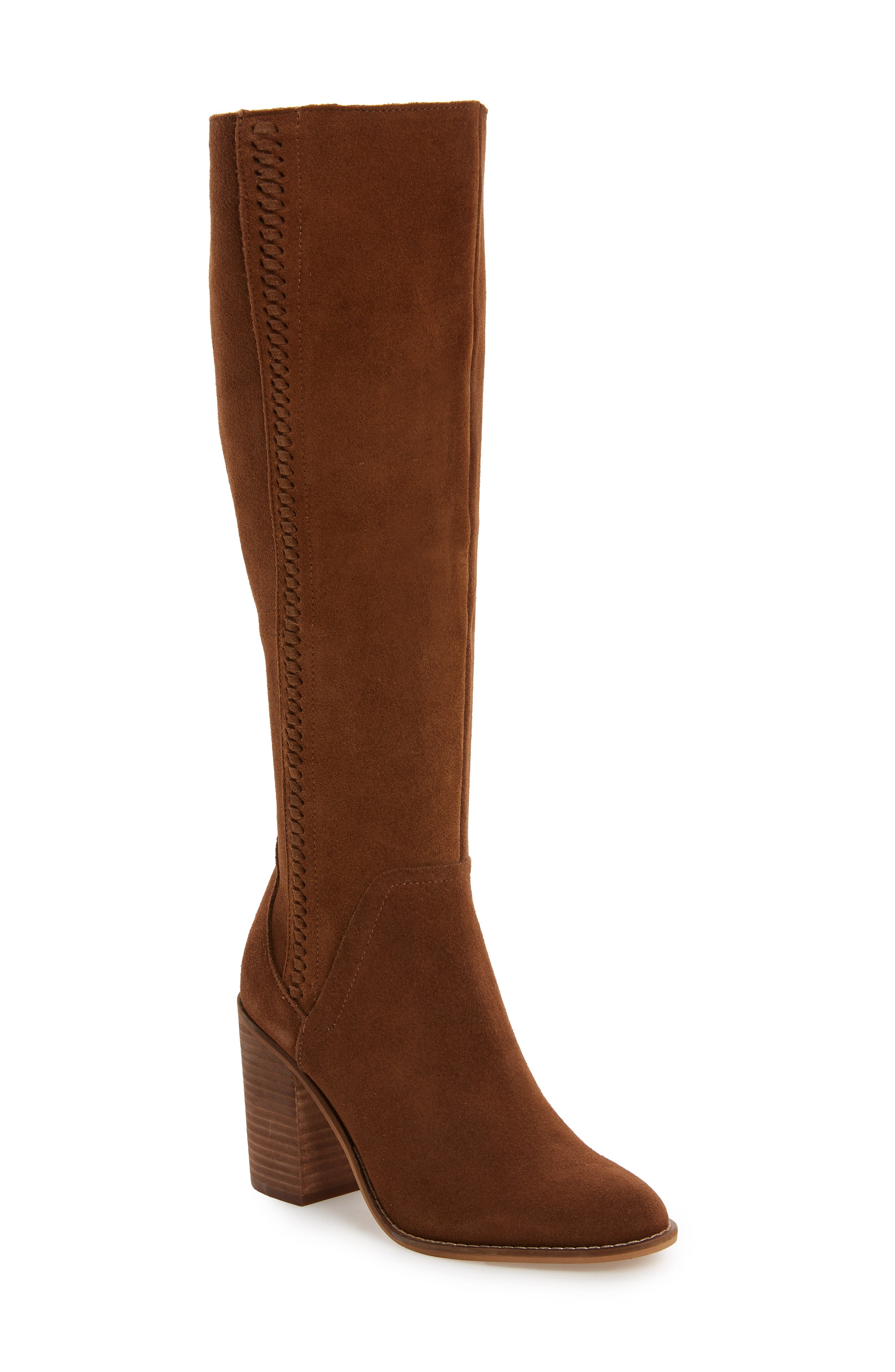 Roxana Knee High Boot,                             Main thumbnail 1, color,                             CHESTNUT SUEDE