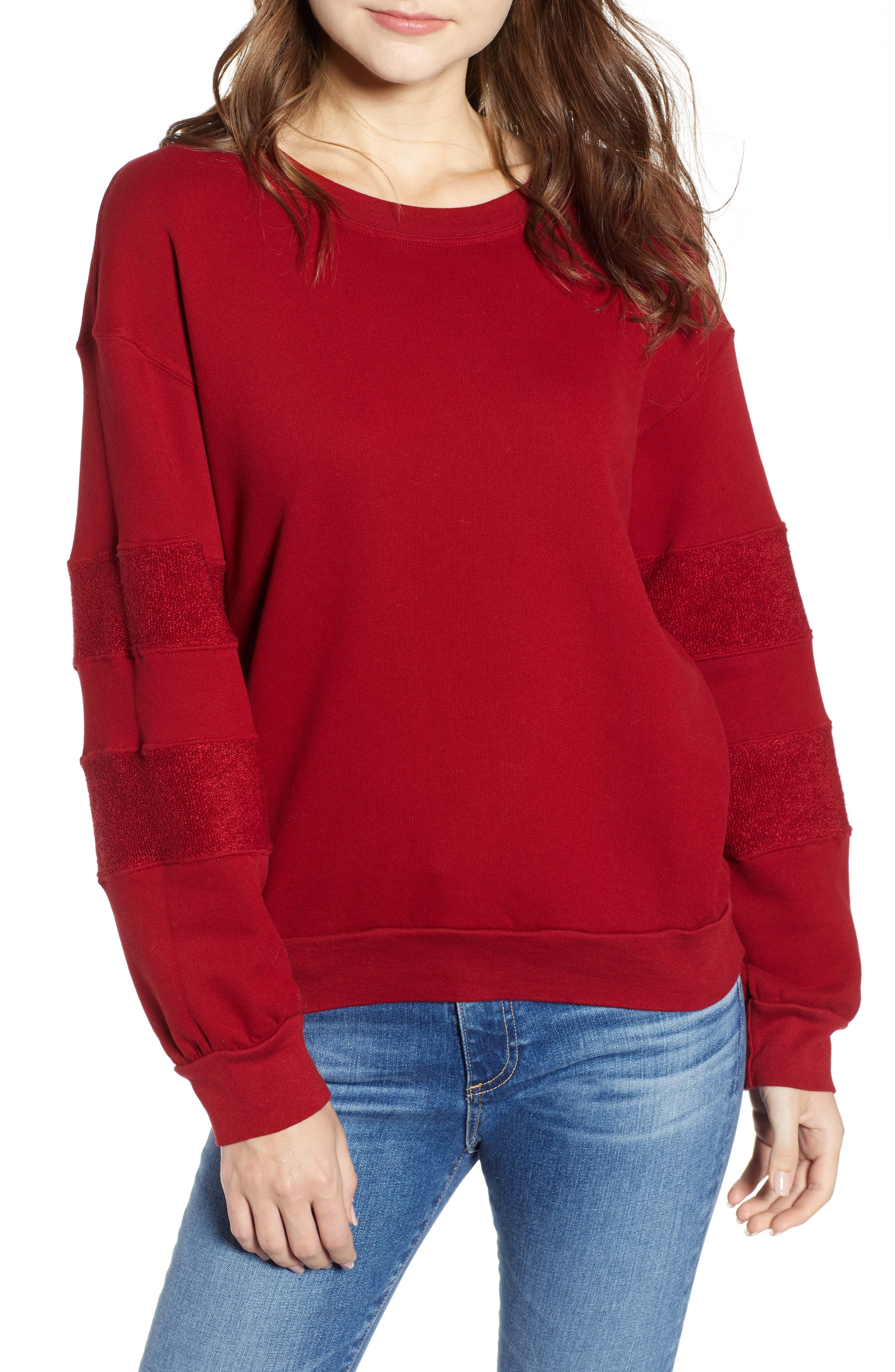 French Terry Stripe Sweatshirt,                             Main thumbnail 1, color,                             DEEP RED