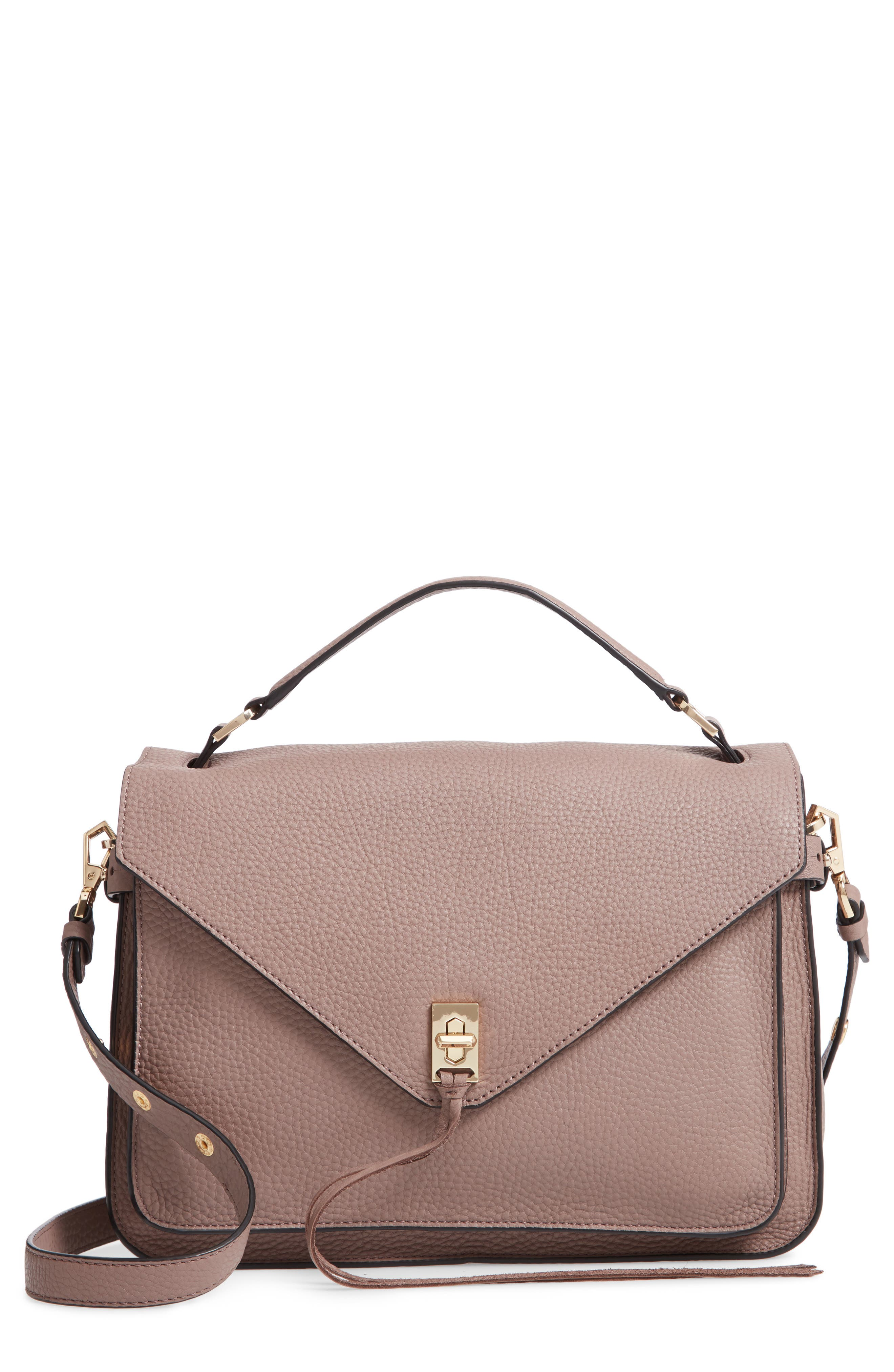 Darren Leather Messenger Bag,                             Main thumbnail 1, color,                             MINK