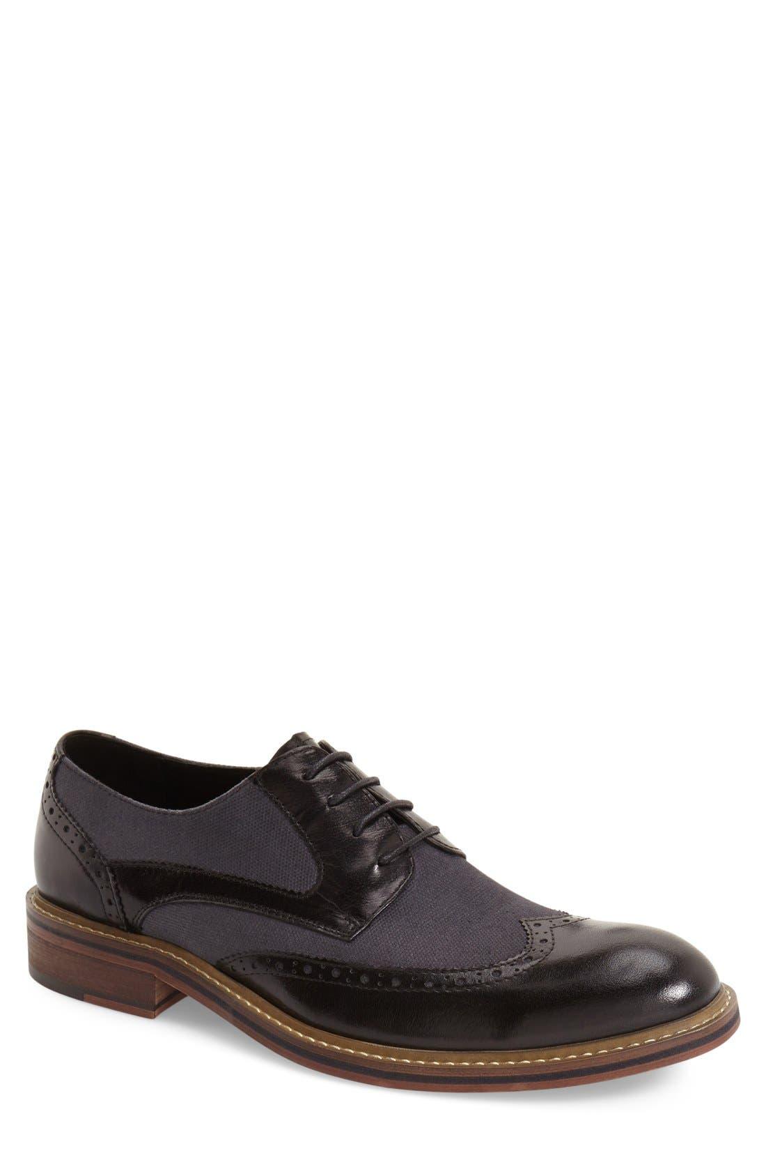 'Money' Spectator Shoe,                         Main,                         color, BLACK LEATHER