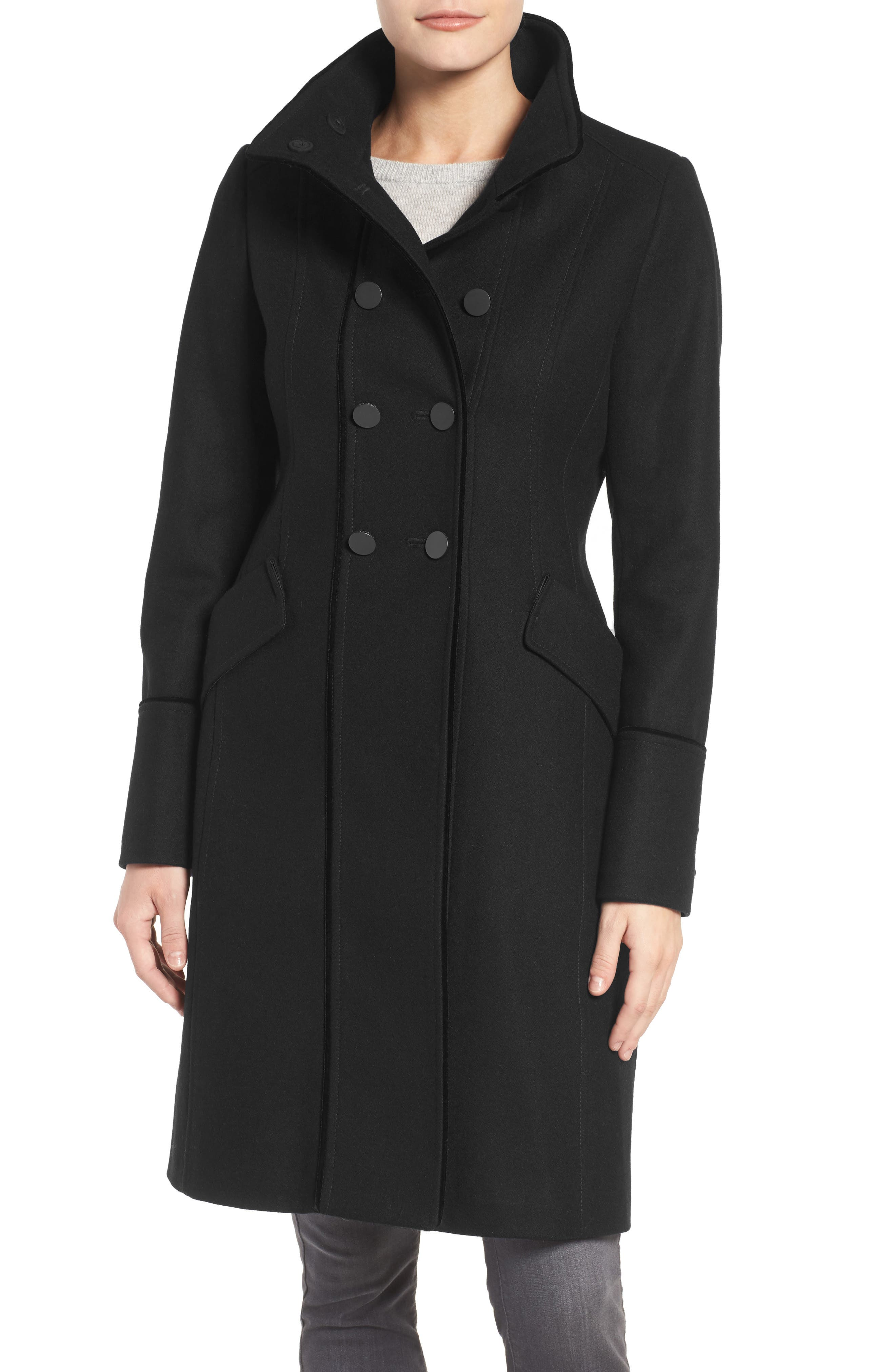 Alice Wool Blend Officer's Coat,                             Main thumbnail 1, color,                             001