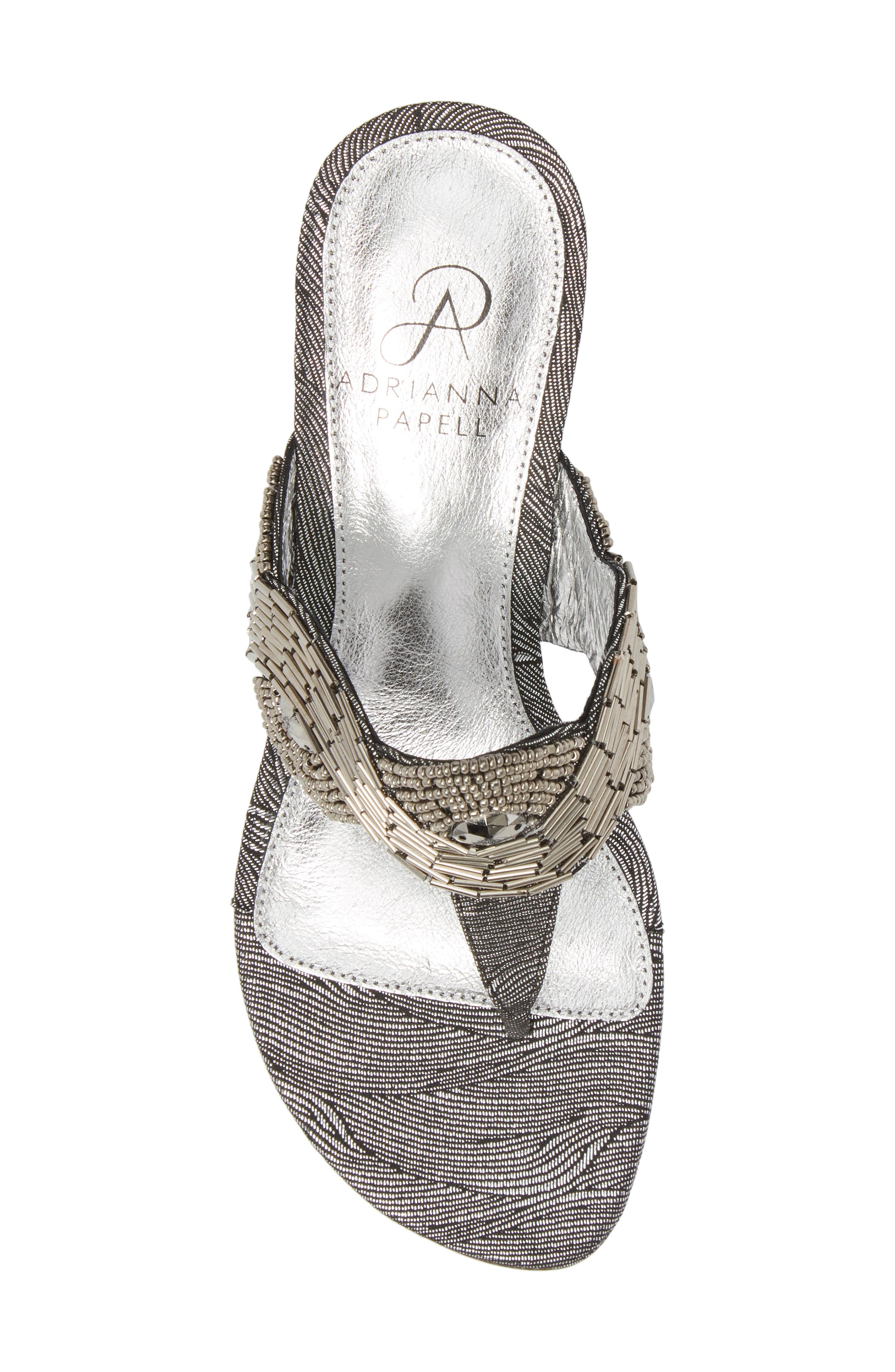 ADRIANNA PAPELL,                             Coco Beaded Wedge Sandal,                             Alternate thumbnail 5, color,                             049