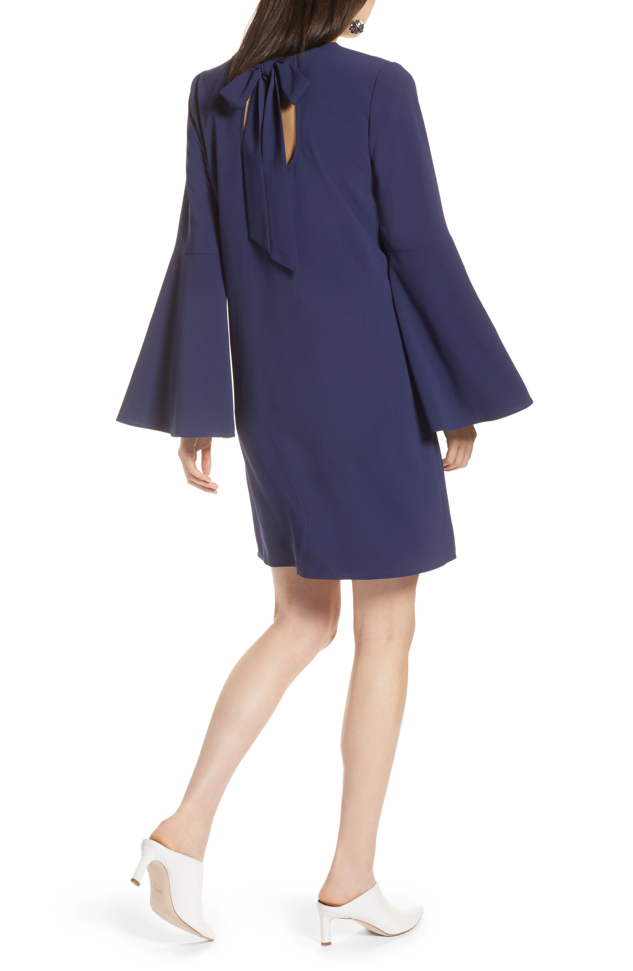 Bow Back Flare Sleeve Dress,                             Alternate thumbnail 2, color,                             410
