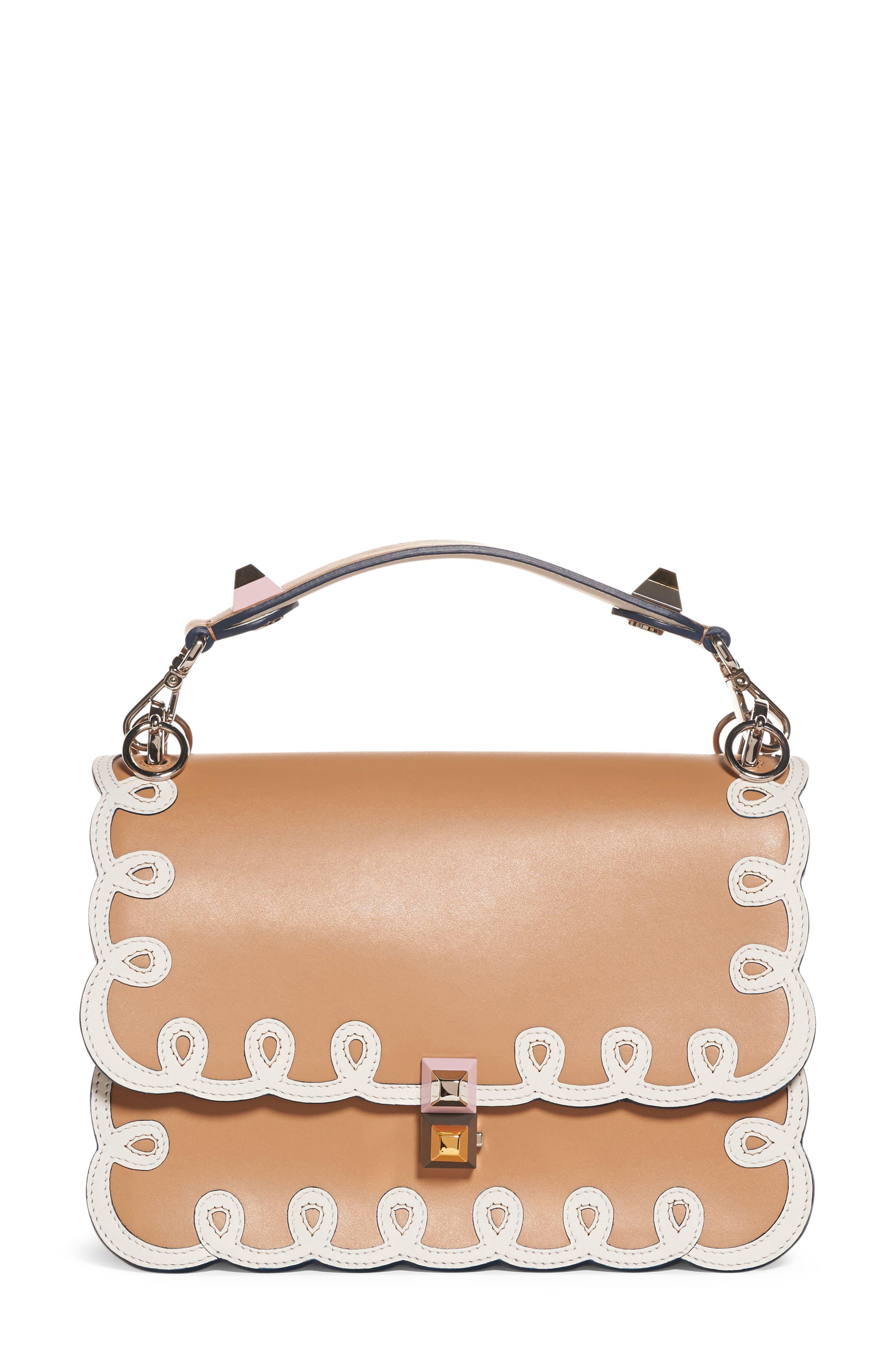 Kan I Scalloped Leather Shoulder Bag,                             Main thumbnail 1, color,                             CUIO/WHITE