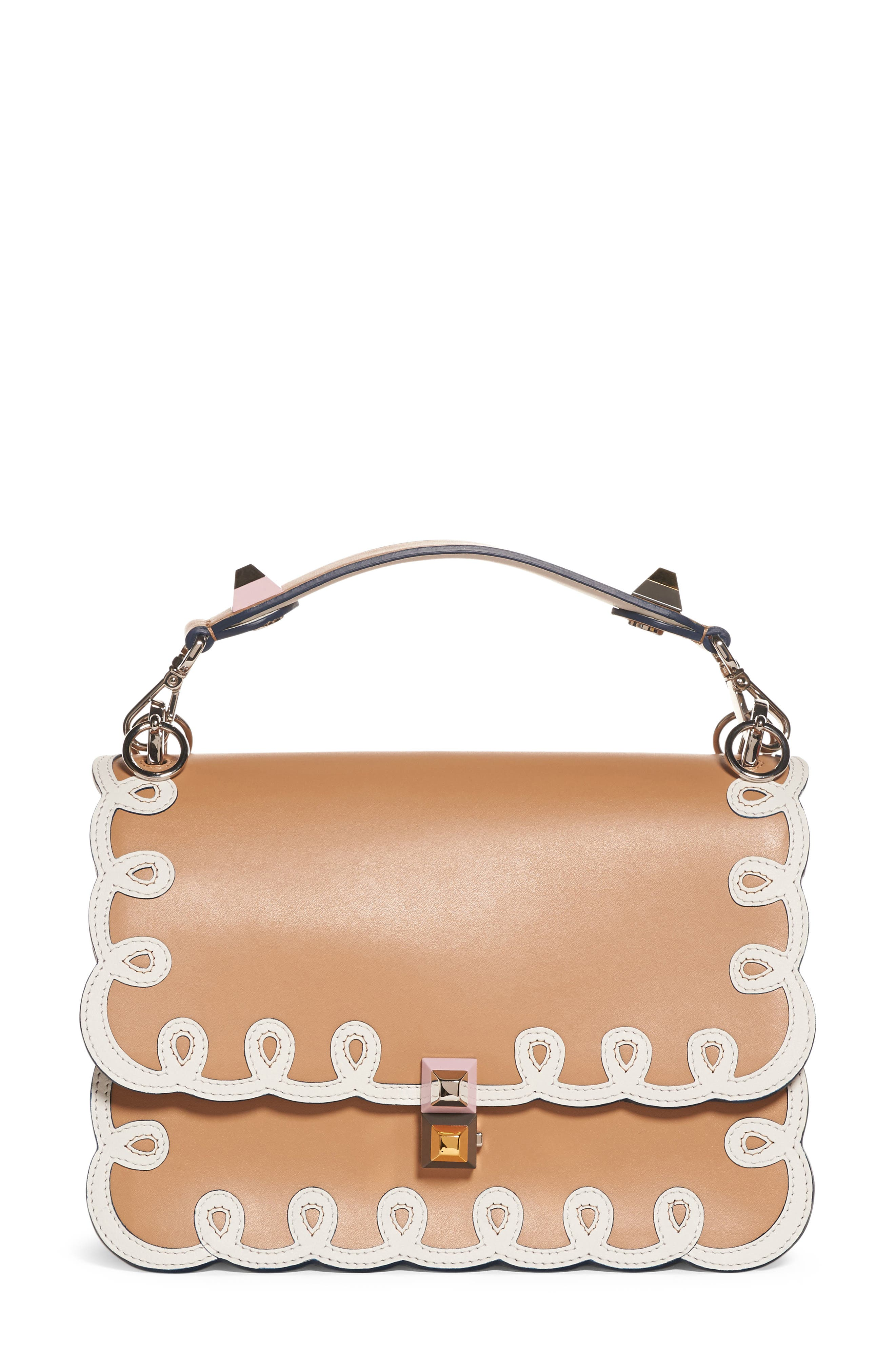 Kan I Scalloped Leather Shoulder Bag by Fendi
