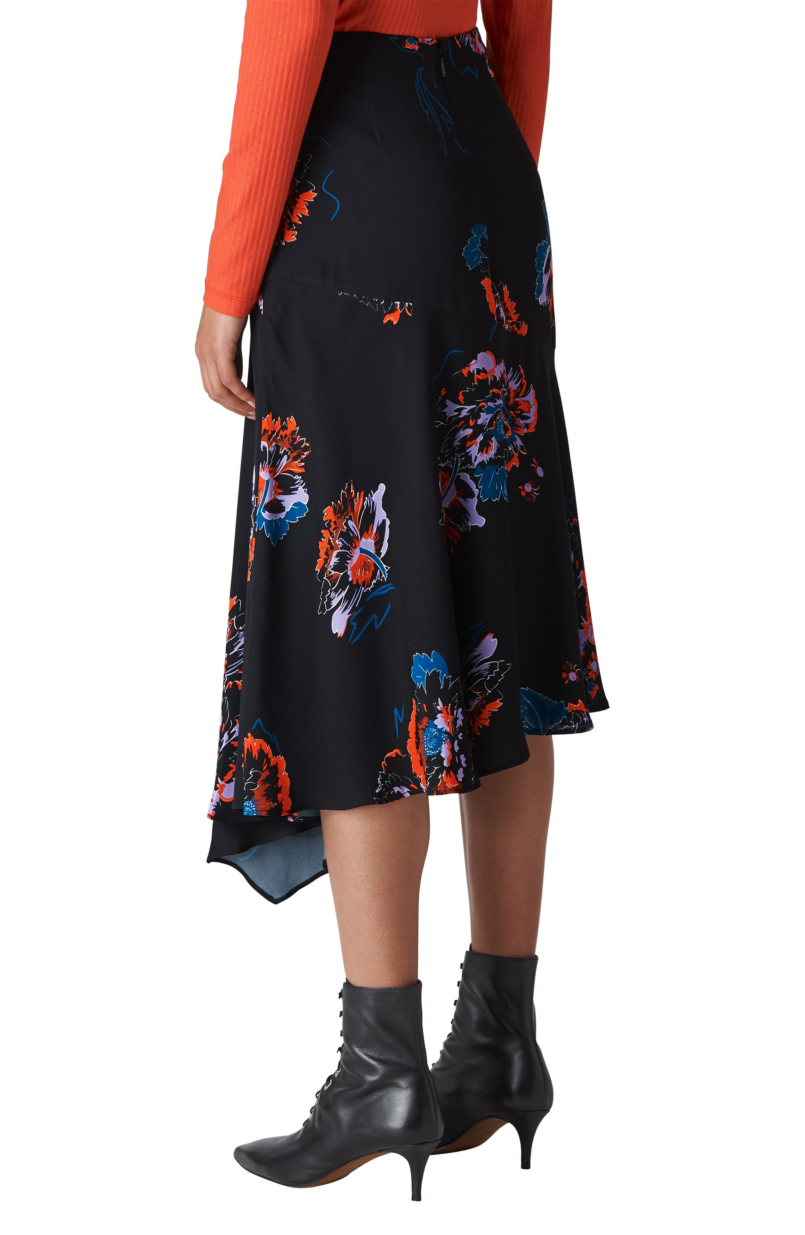 Freya Floral Asymmetrical Skirt,                             Alternate thumbnail 2, color,                             001