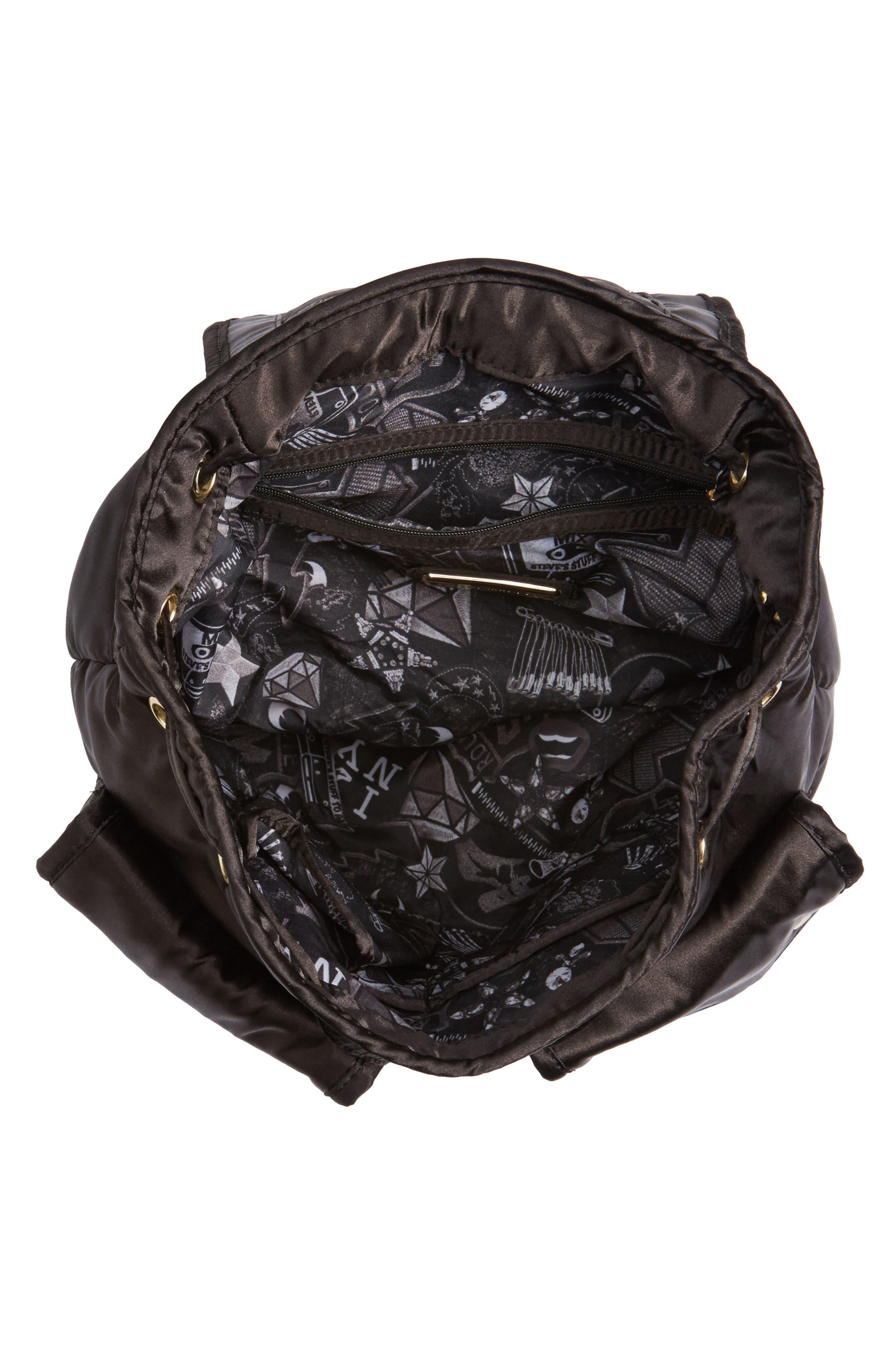 Small Satin Backpack,                             Alternate thumbnail 4, color,                             001