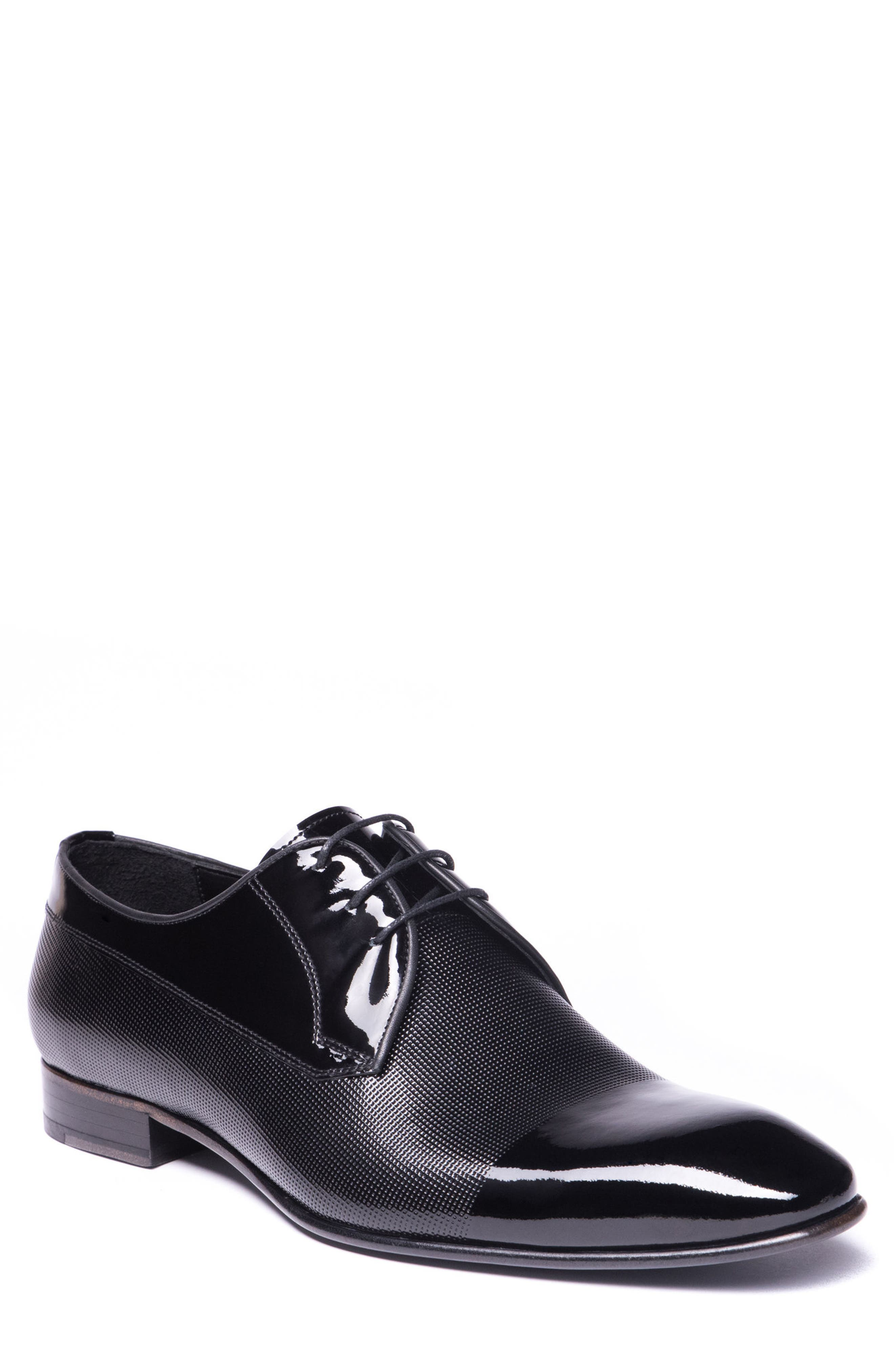 Riccardo Cap Toe Derby,                             Main thumbnail 1, color,                             BLACK LEATHER