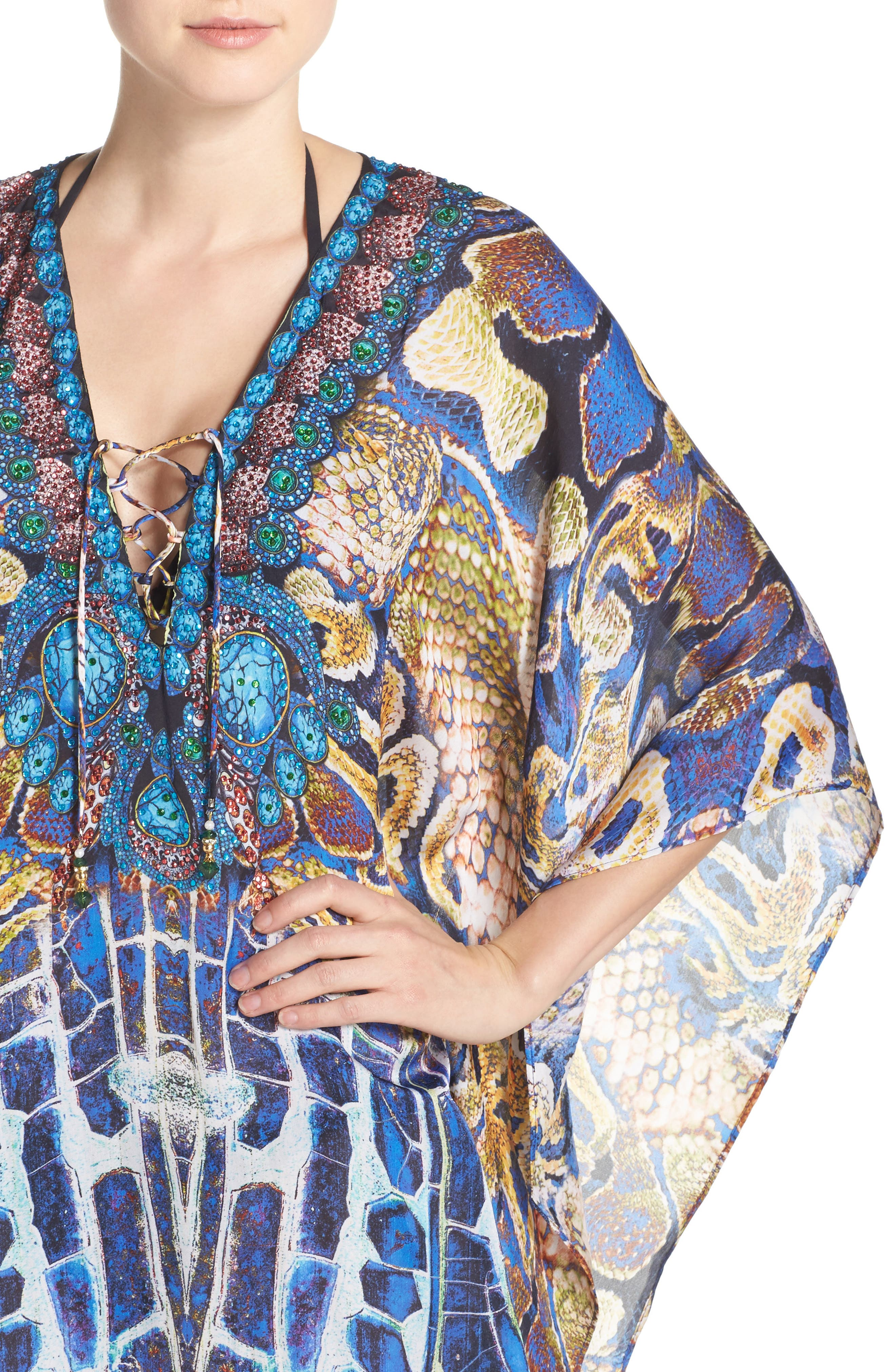 Paris Short Kaftan,                             Alternate thumbnail 4, color,                             400