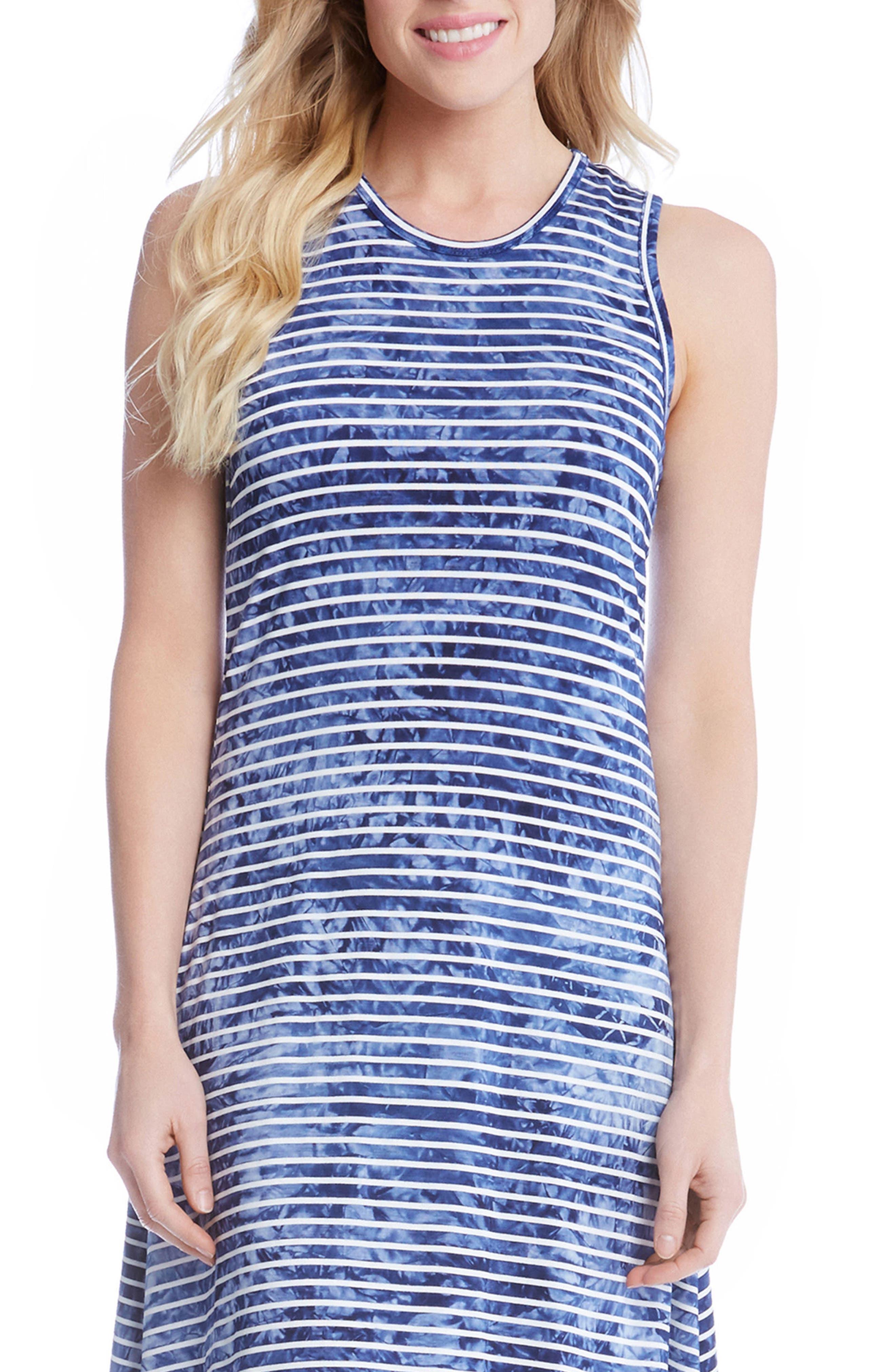 Tie-Dye Stripe A-Line Dress,                             Alternate thumbnail 3, color,                             489