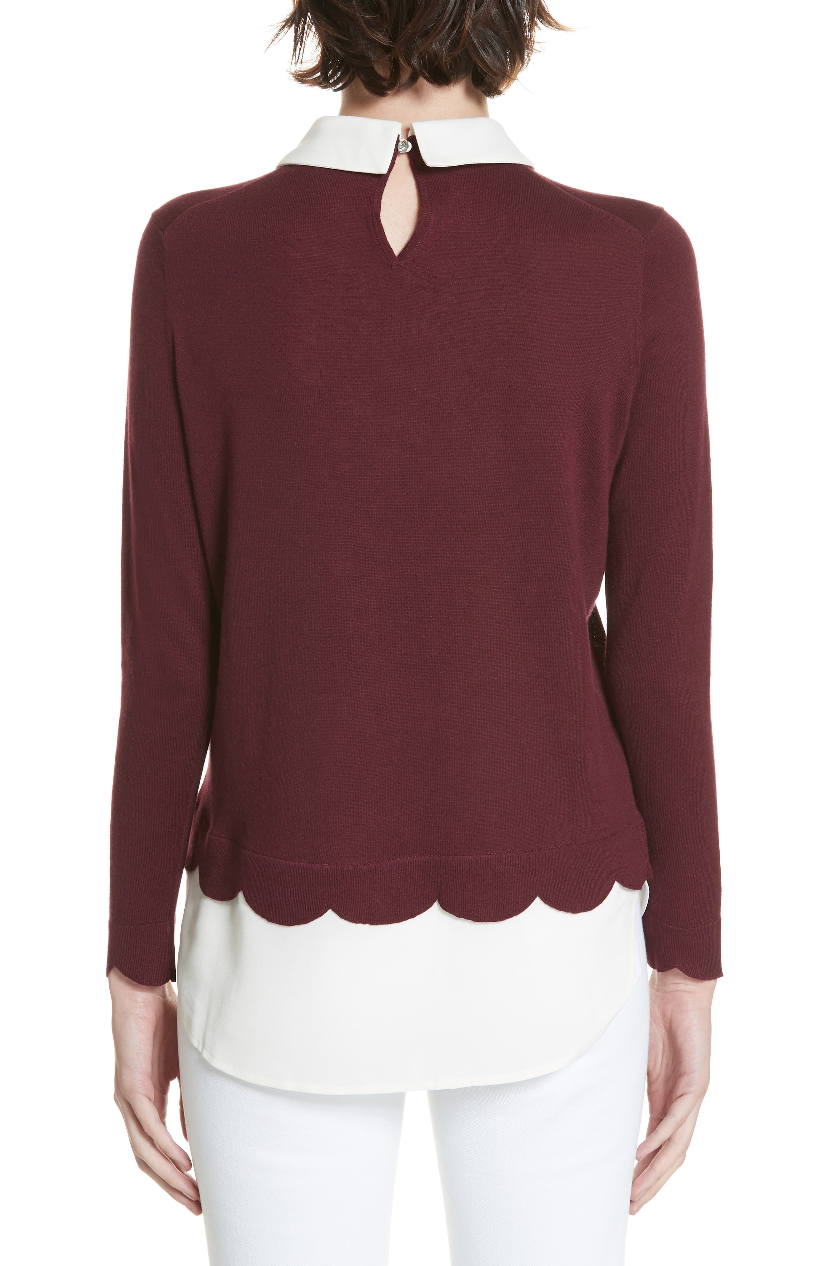 Suzaine Layered Sweater,                             Alternate thumbnail 2, color,                             MAROON