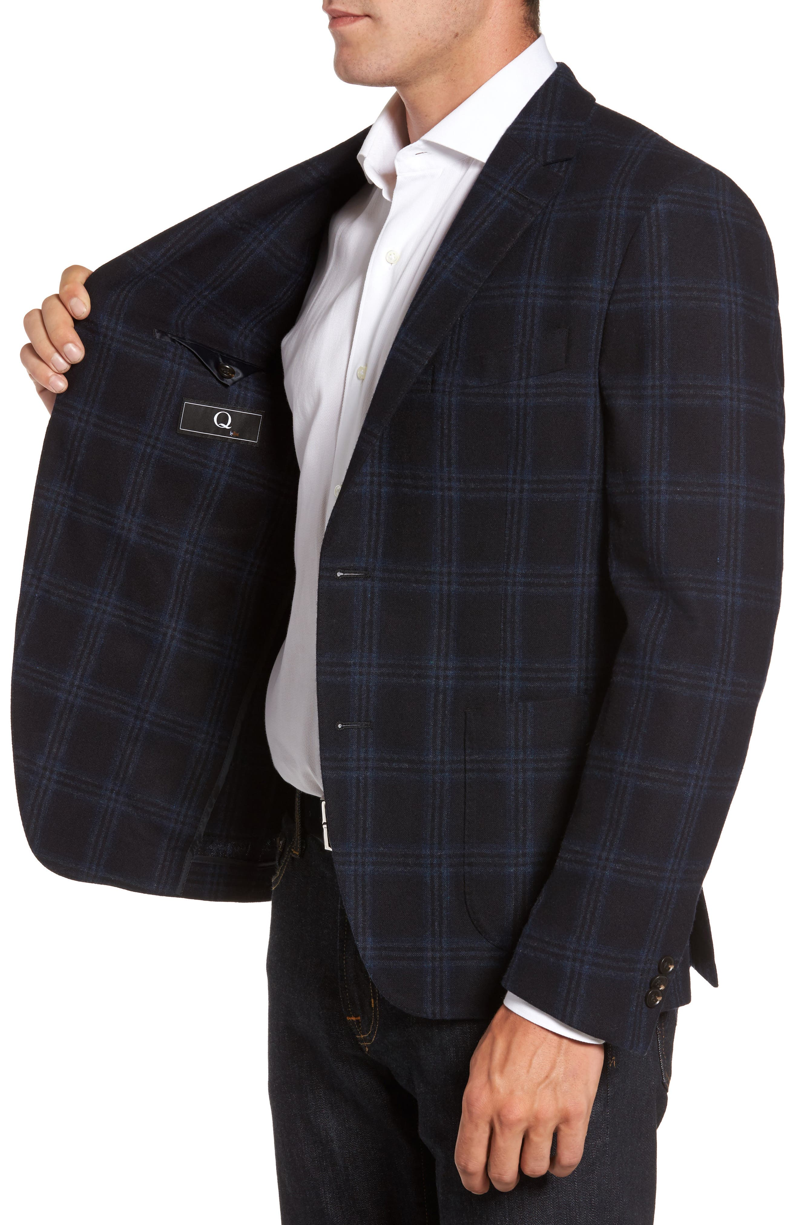 Classic Fit Windowpane Wool & Cashmere Jersey Sport Coat,                             Alternate thumbnail 3, color,                             001