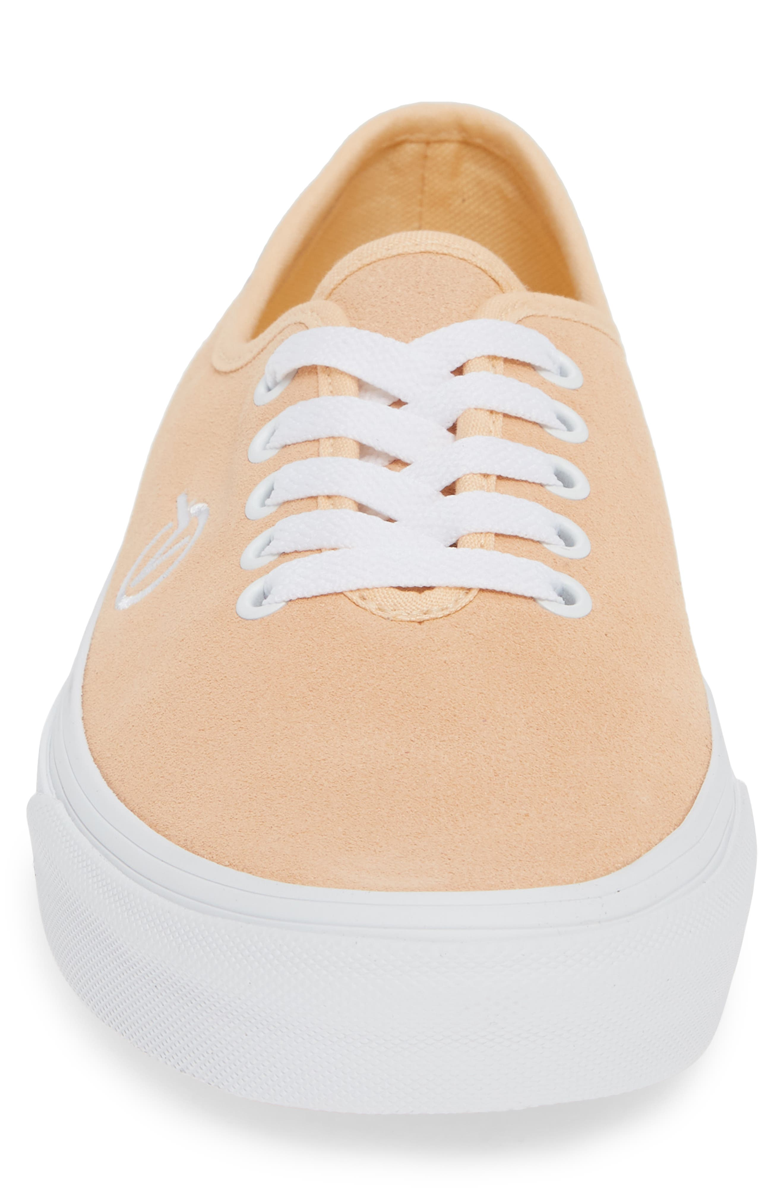 Authentic One-Piece Sneaker,                             Alternate thumbnail 4, color,                             BLEACHED APRICOT/ SUEDE