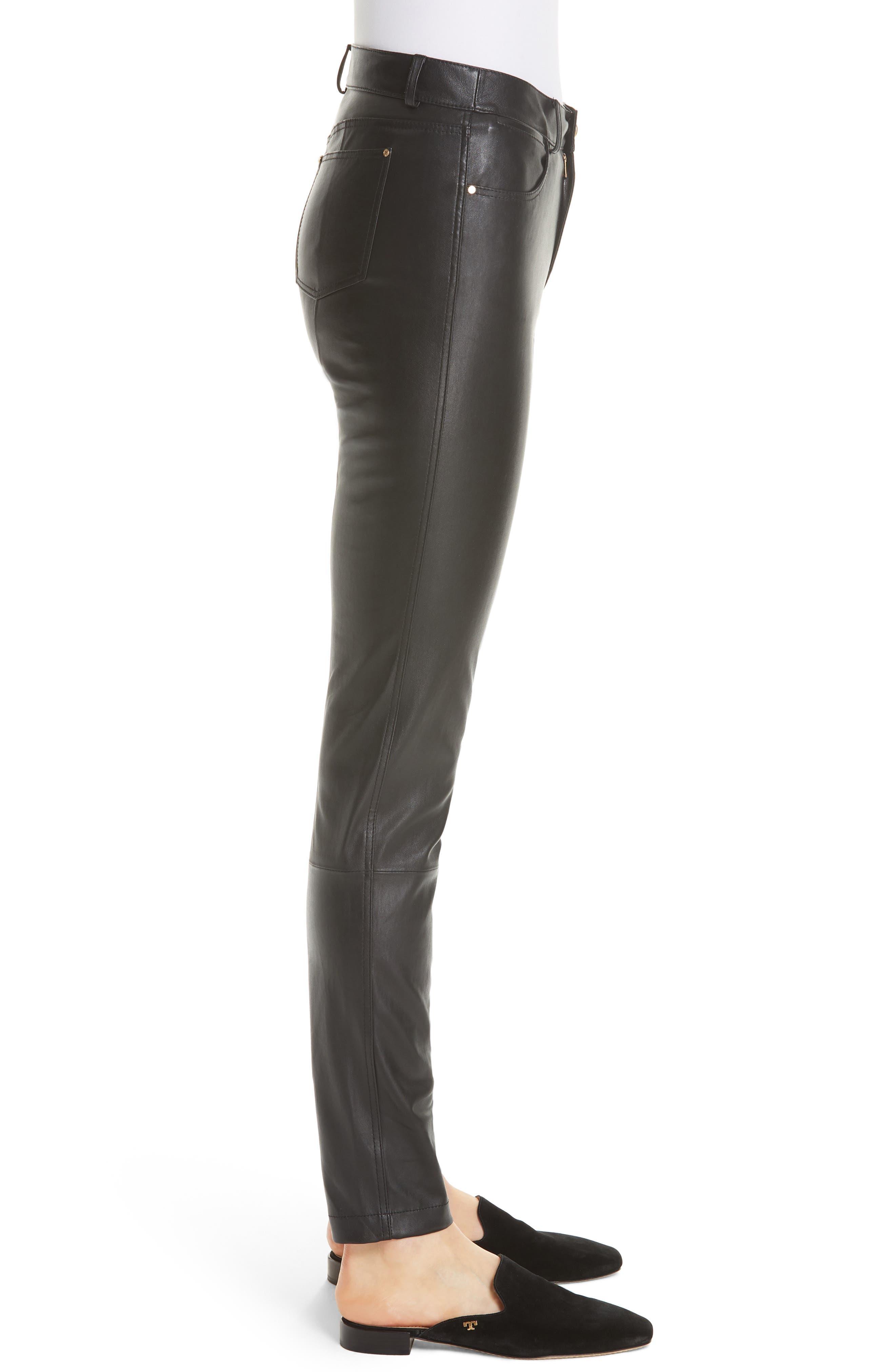 Mercer Nappa Leather Pants,                             Alternate thumbnail 3, color,                             BLACK