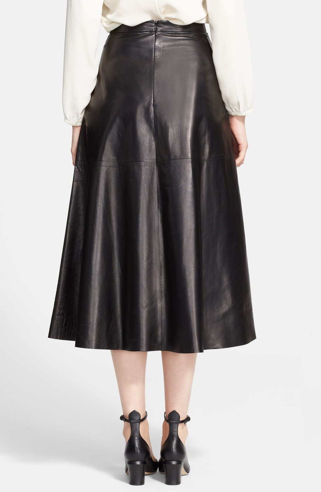 Lightweight Leather Midi Skirt,                             Alternate thumbnail 4, color,                             001