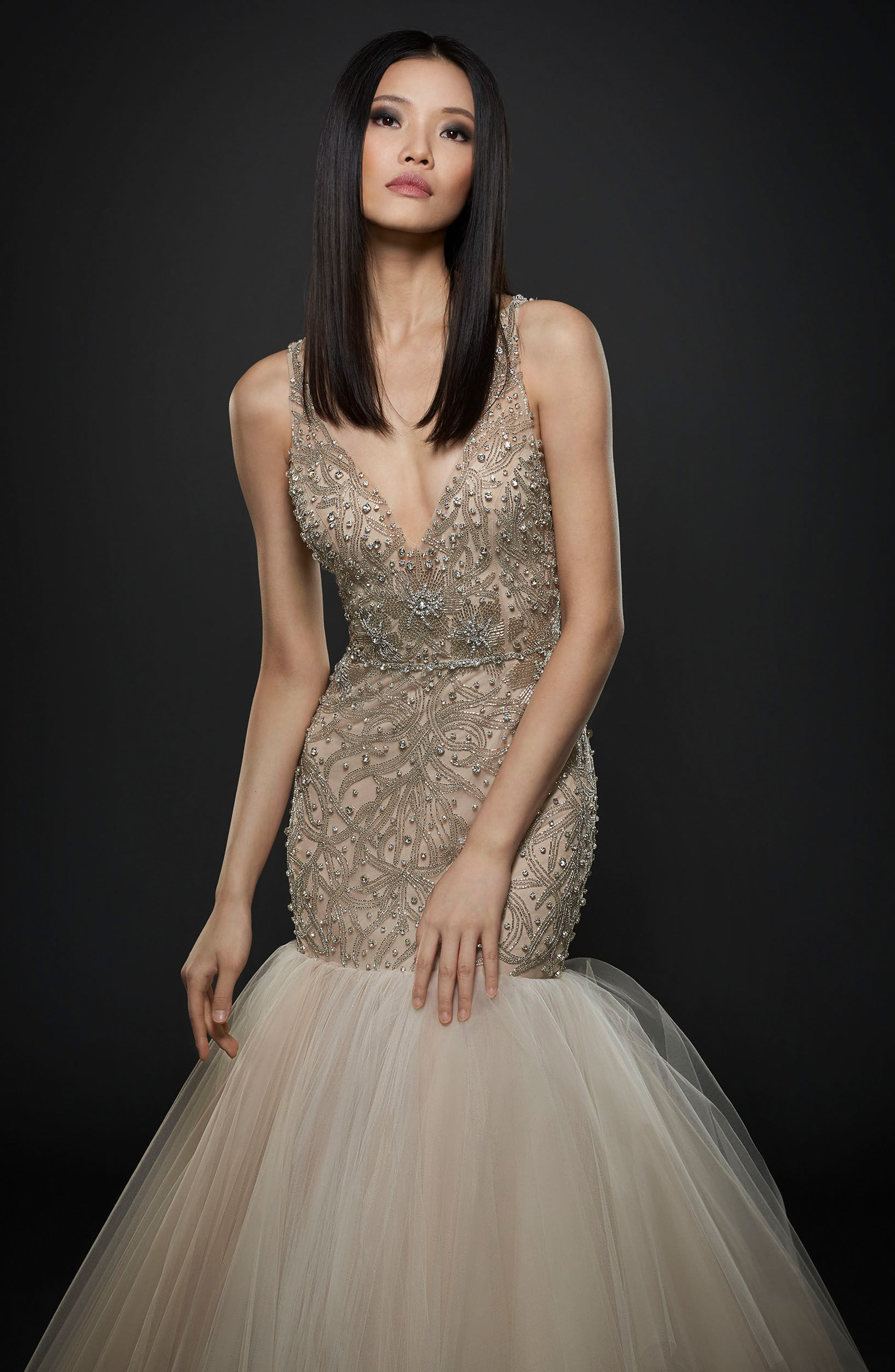 Embellished Trumpet Gown,                             Alternate thumbnail 3, color,                             IVORY/ CASHMERE