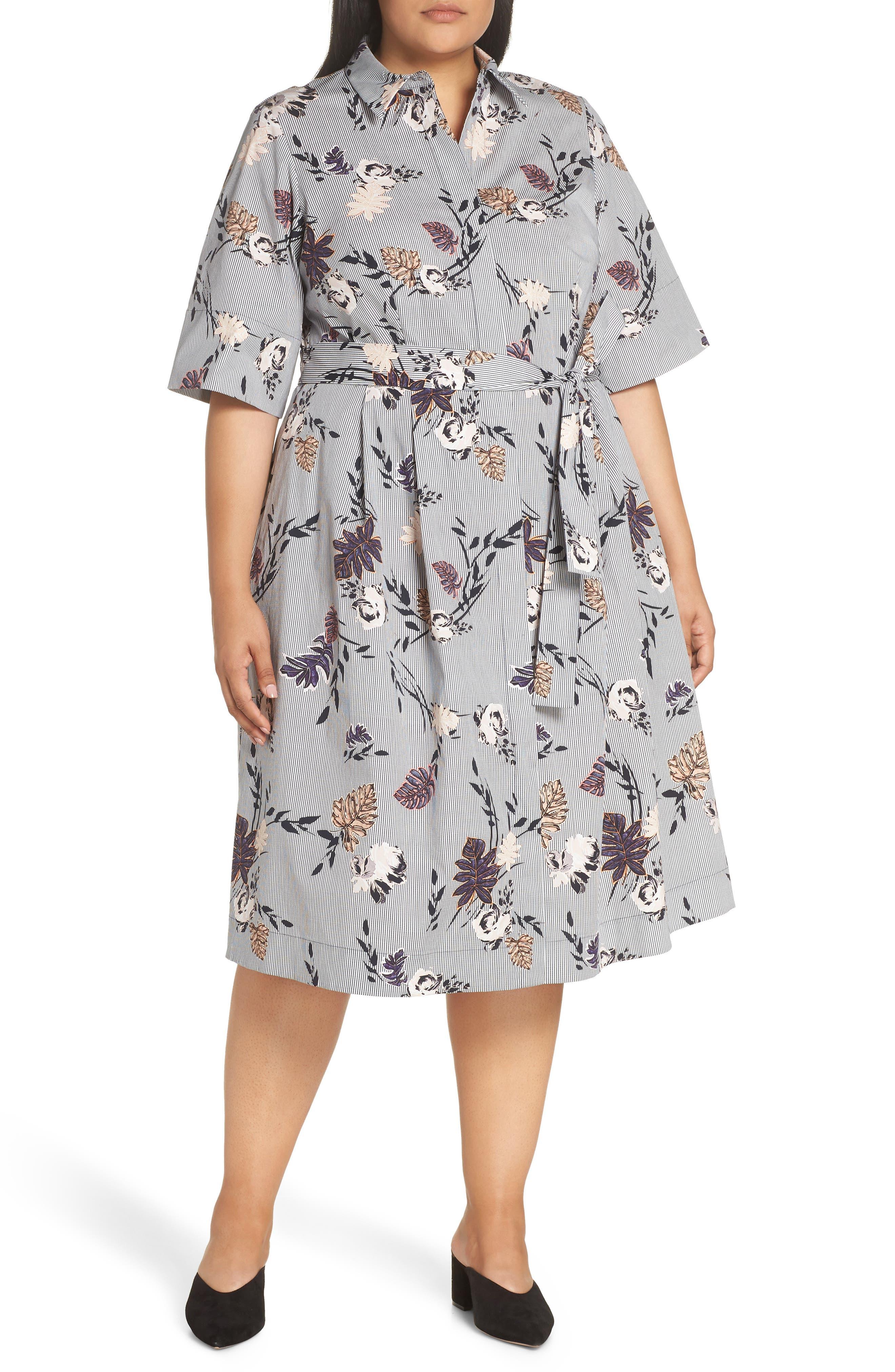 Eleni Floral Stripe Shirtdress, Main, color, INK MULTI