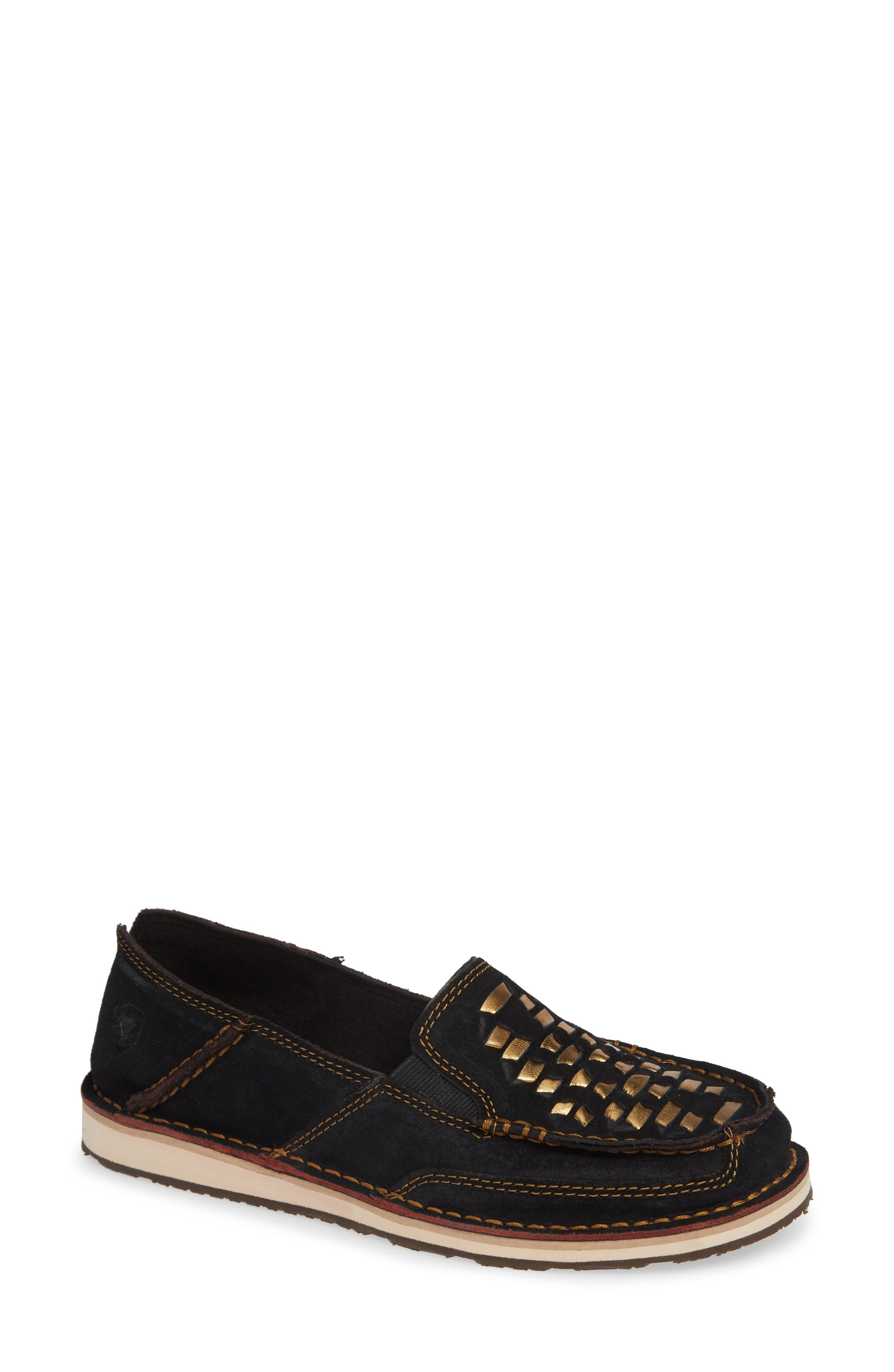 Cruiser Woven Loafer in Black Suede/ Leather