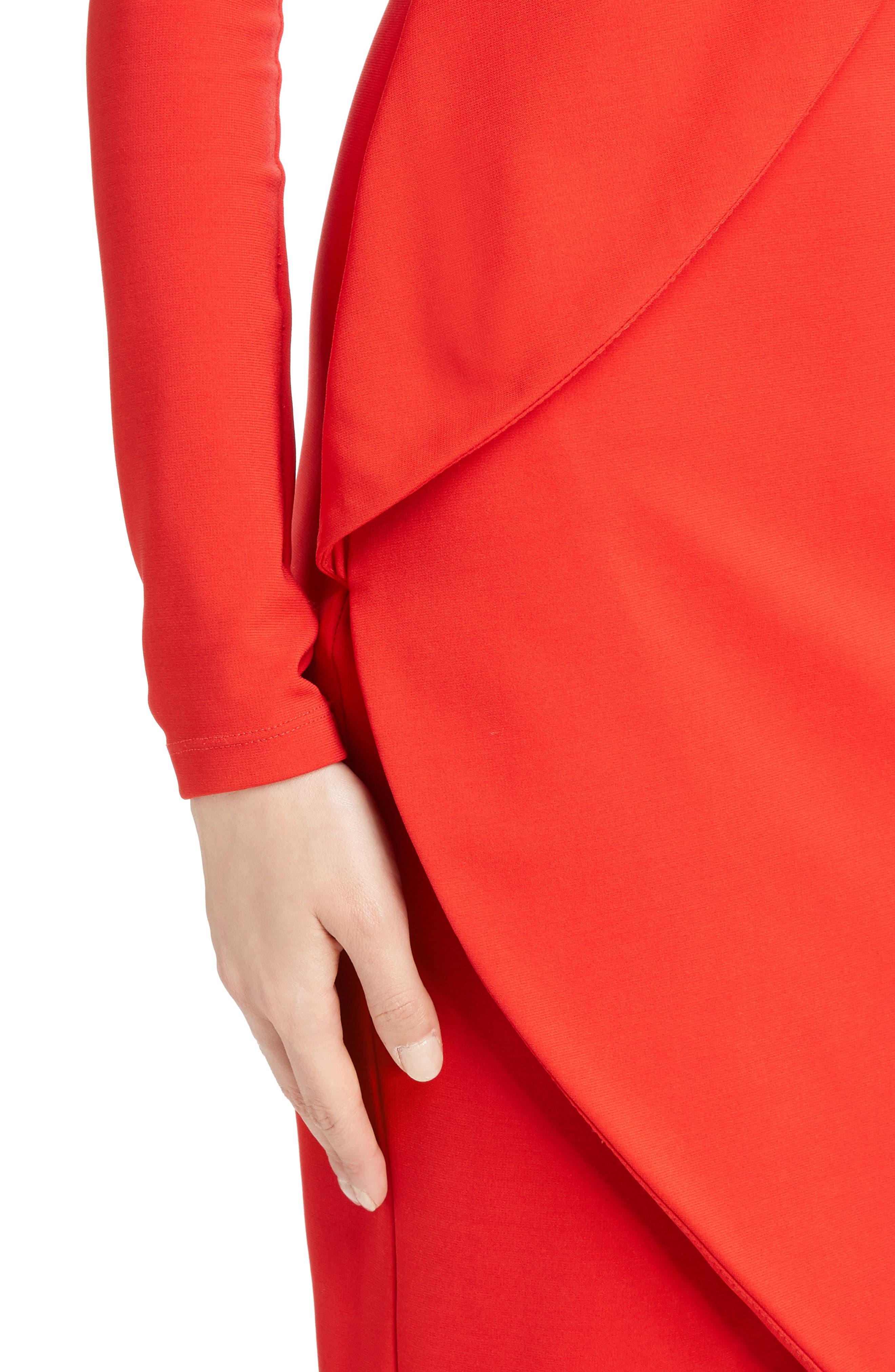 Jersey Turtleneck Tulip Hem Dress,                             Alternate thumbnail 4, color,                             620