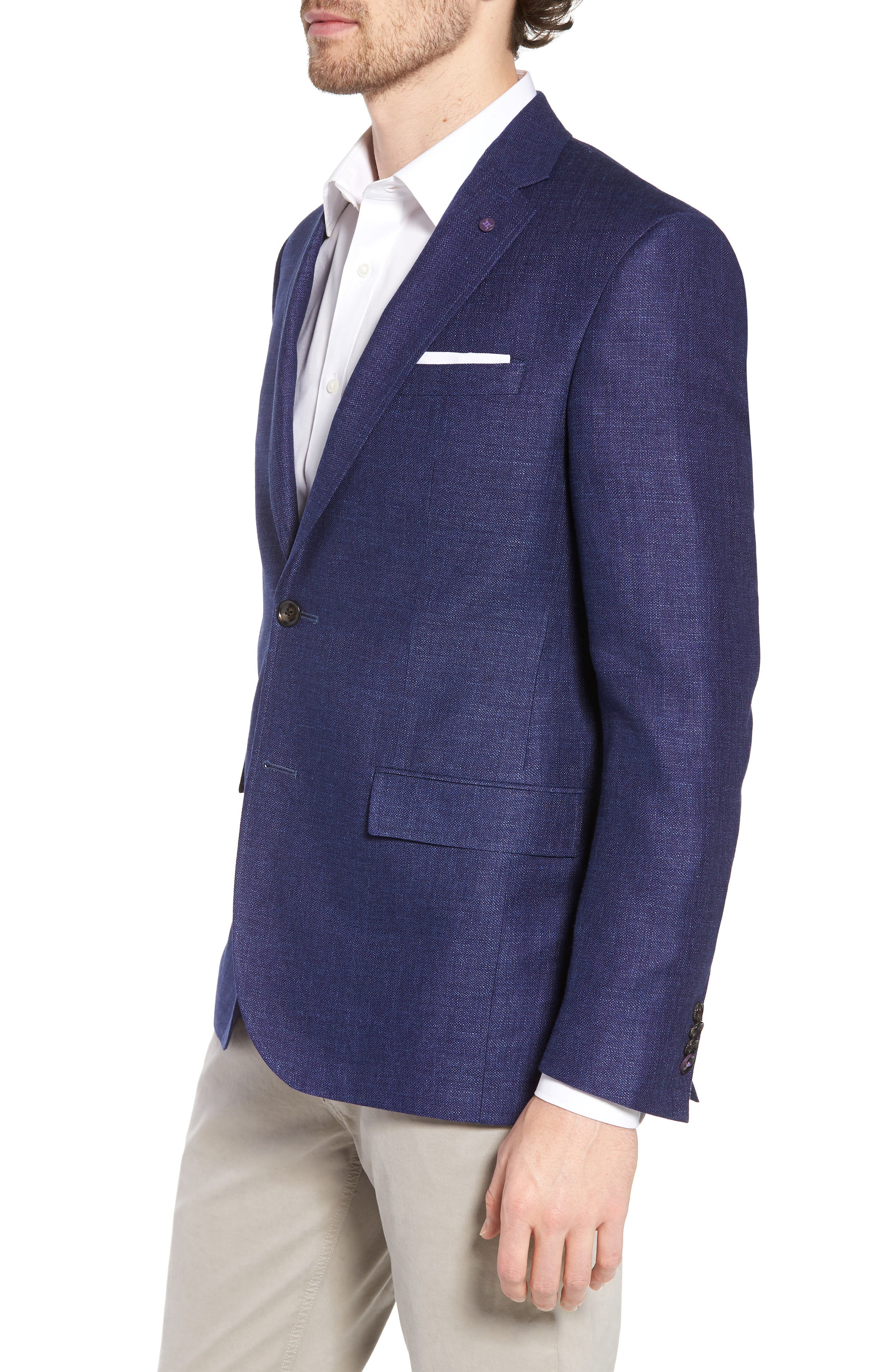 Jay Trim Fit Linen & Wool Blazer,                             Alternate thumbnail 3, color,