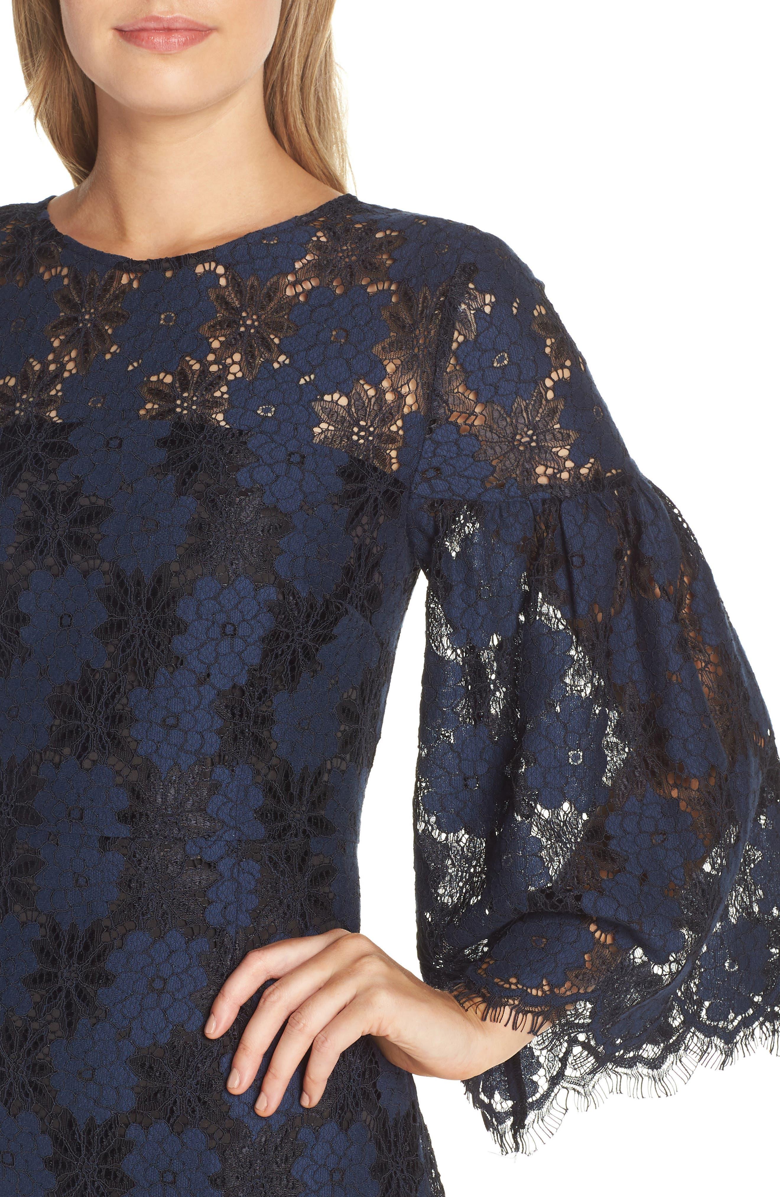 Two-Tone Lace Shift Dress,                             Alternate thumbnail 4, color,                             BLACK/ BLUE FLOWER