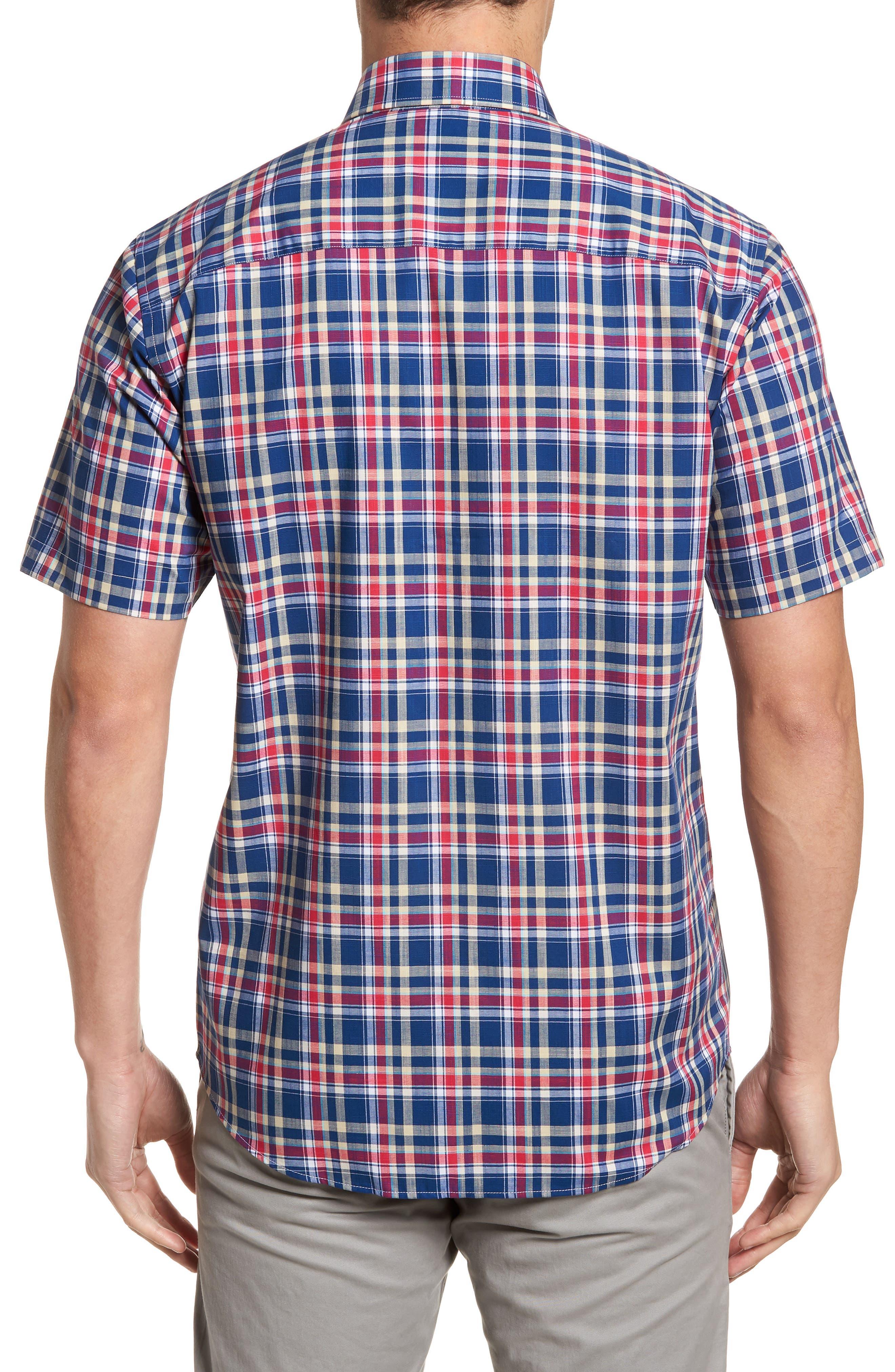 Sebastian Classic Fit Non-Iron Plaid Sport Shirt,                             Alternate thumbnail 4, color,