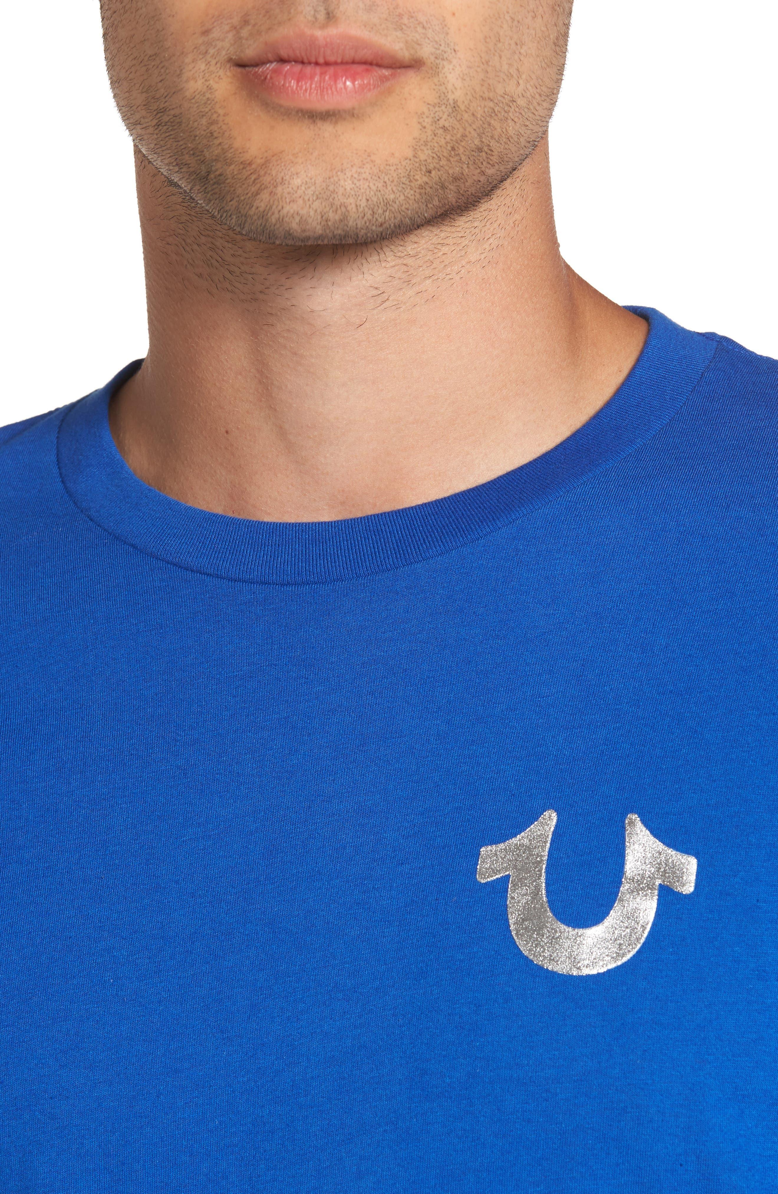 True Religion Silver Buddha T-Shirt,                             Alternate thumbnail 12, color,