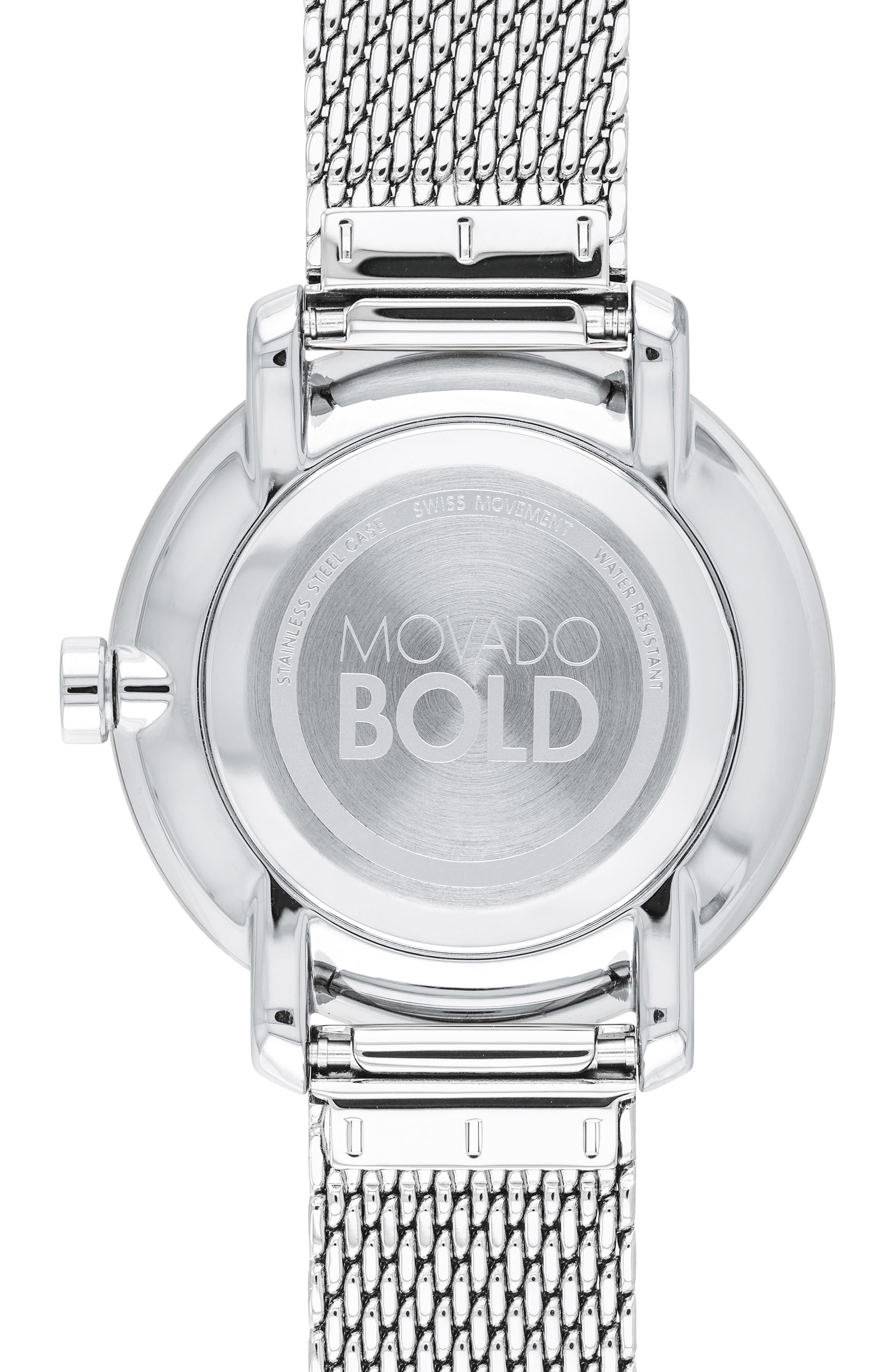 Bold Mesh Bracelet Watch, 34mm,                             Alternate thumbnail 2, color,                             SILVER