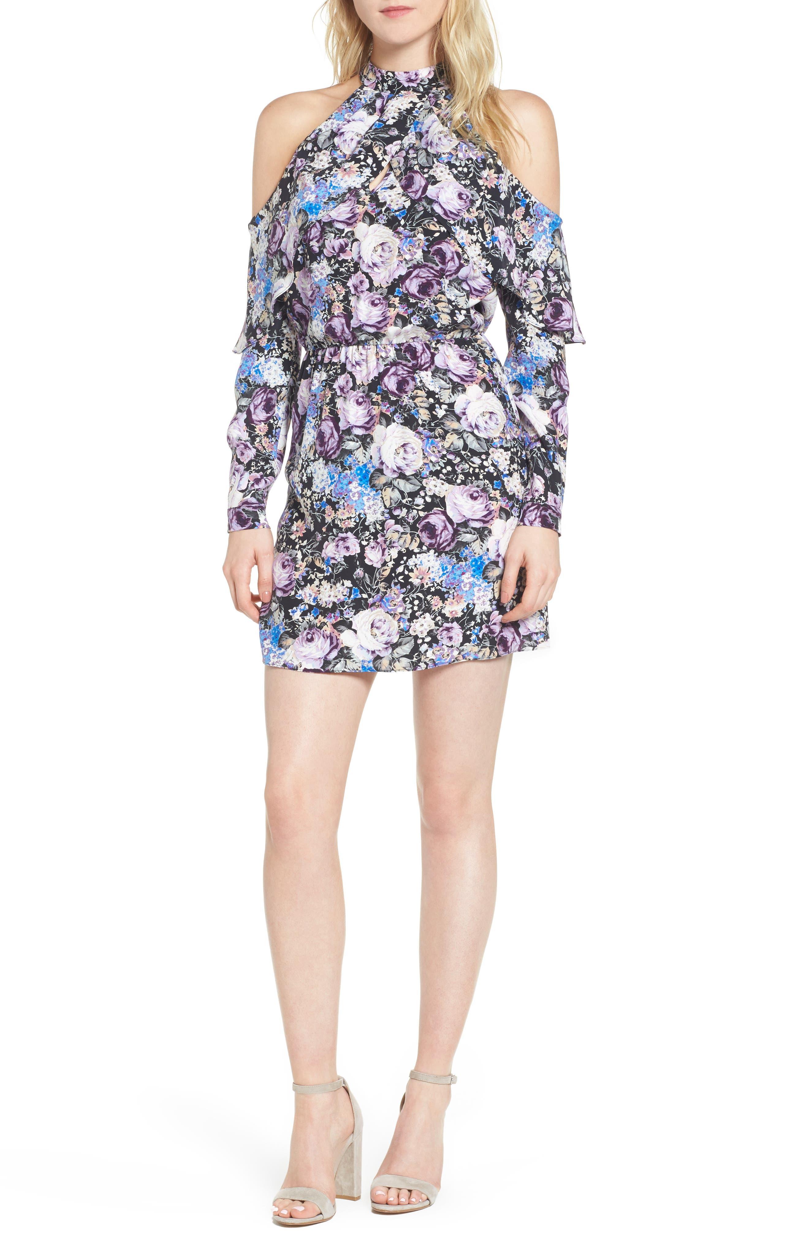 Noemi Cold Shoulder Silk Dress,                             Main thumbnail 1, color,                             500