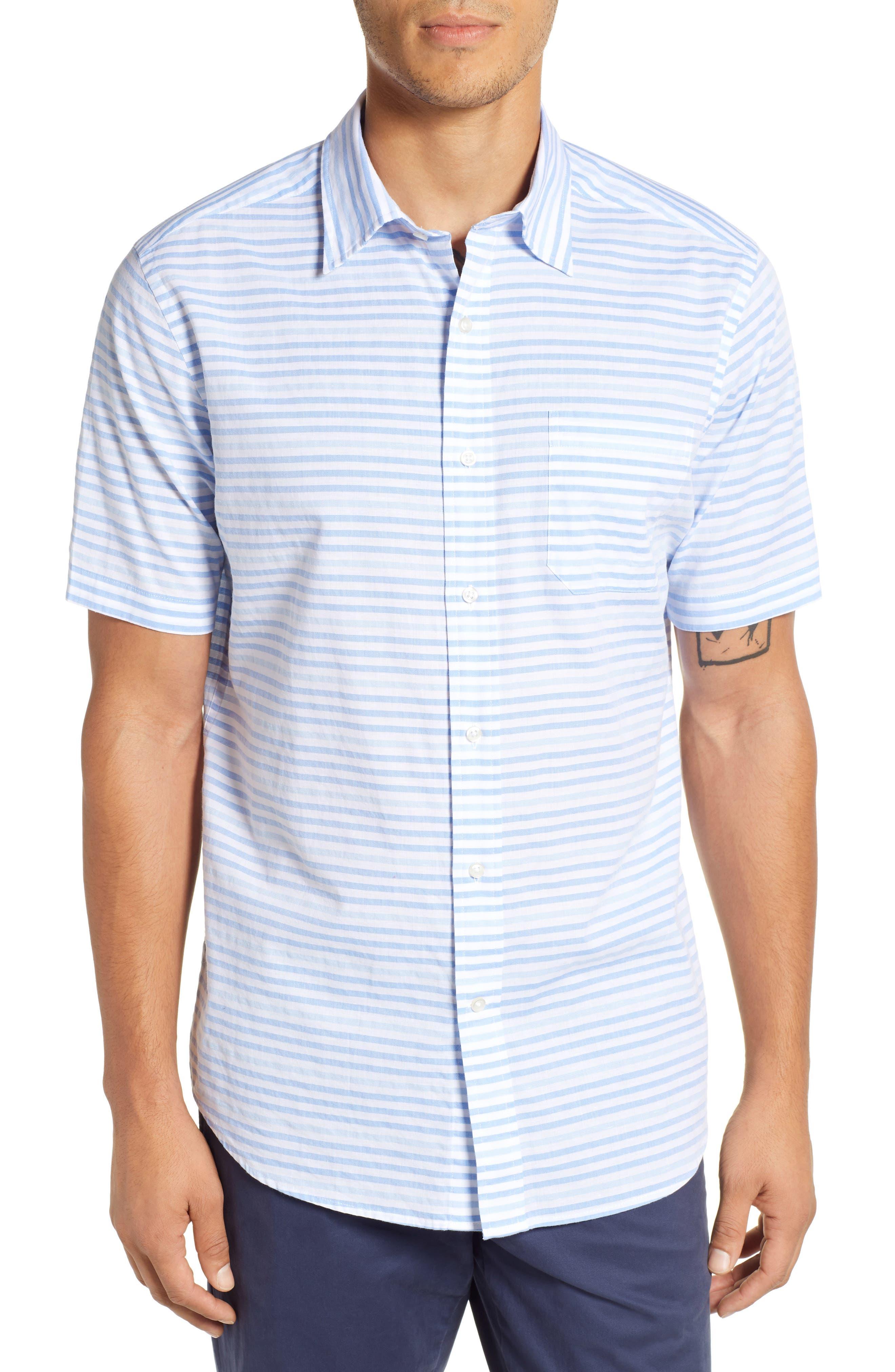 Ocean View Regular Fit Stripe Sport Shirt,                         Main,                         color, MARINA