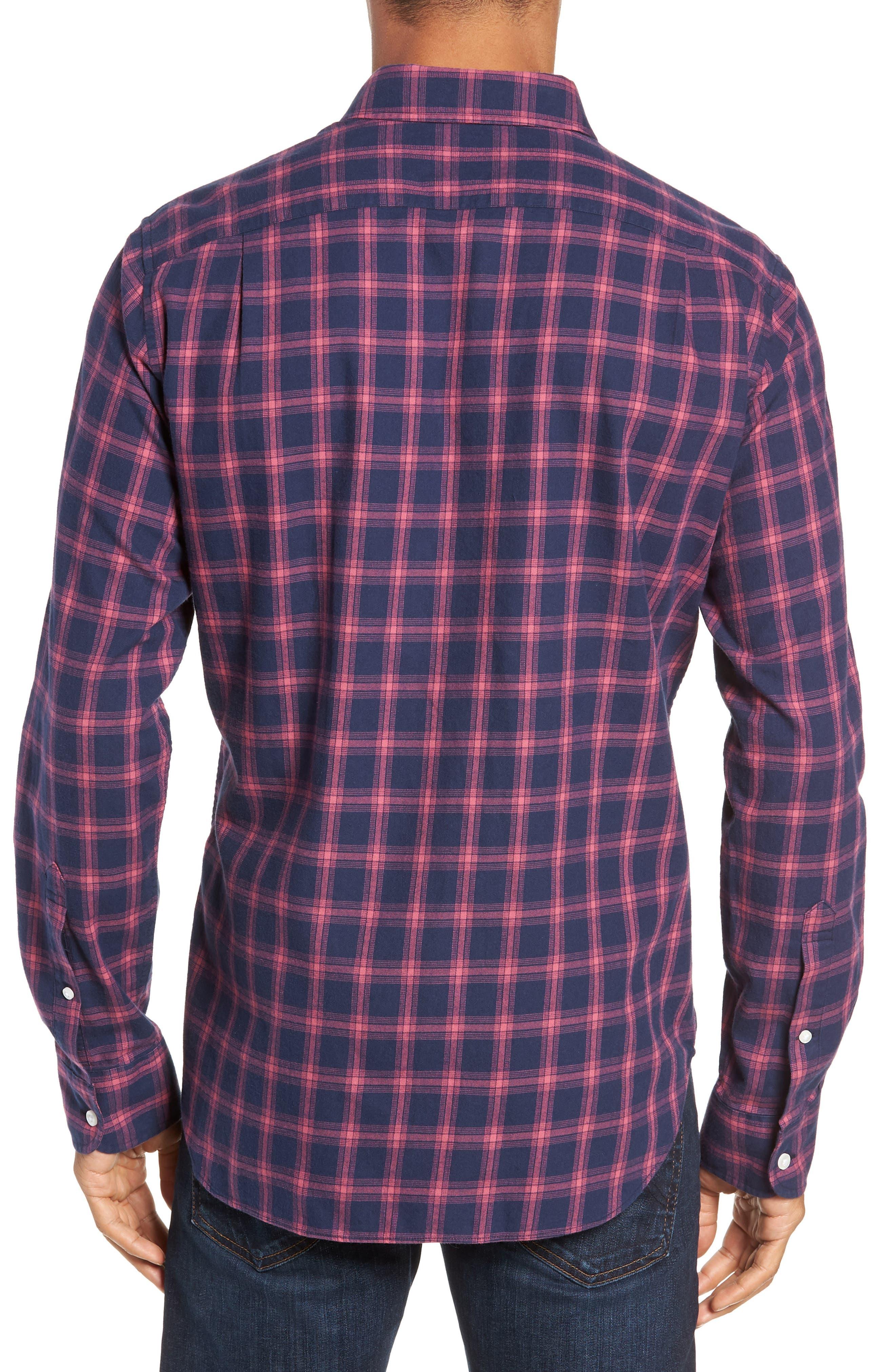 Slim Fit Brushed Twill Sport Shirt,                             Alternate thumbnail 3, color,                             ELLIS CHECK - MALAGA