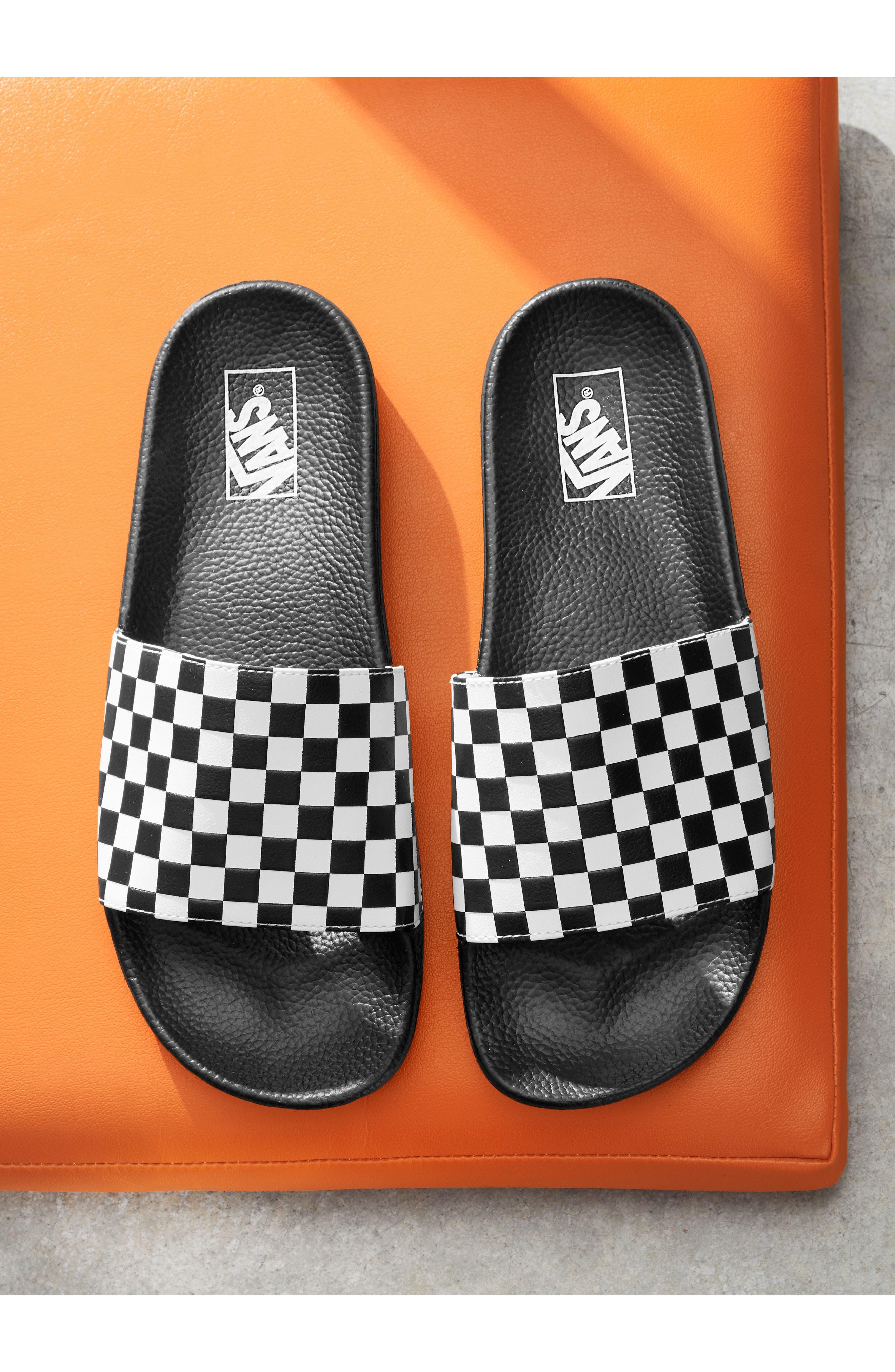 'Slide-On' Slide Sandal,                             Alternate thumbnail 8, color,                             WHITE CHECKERBOARD