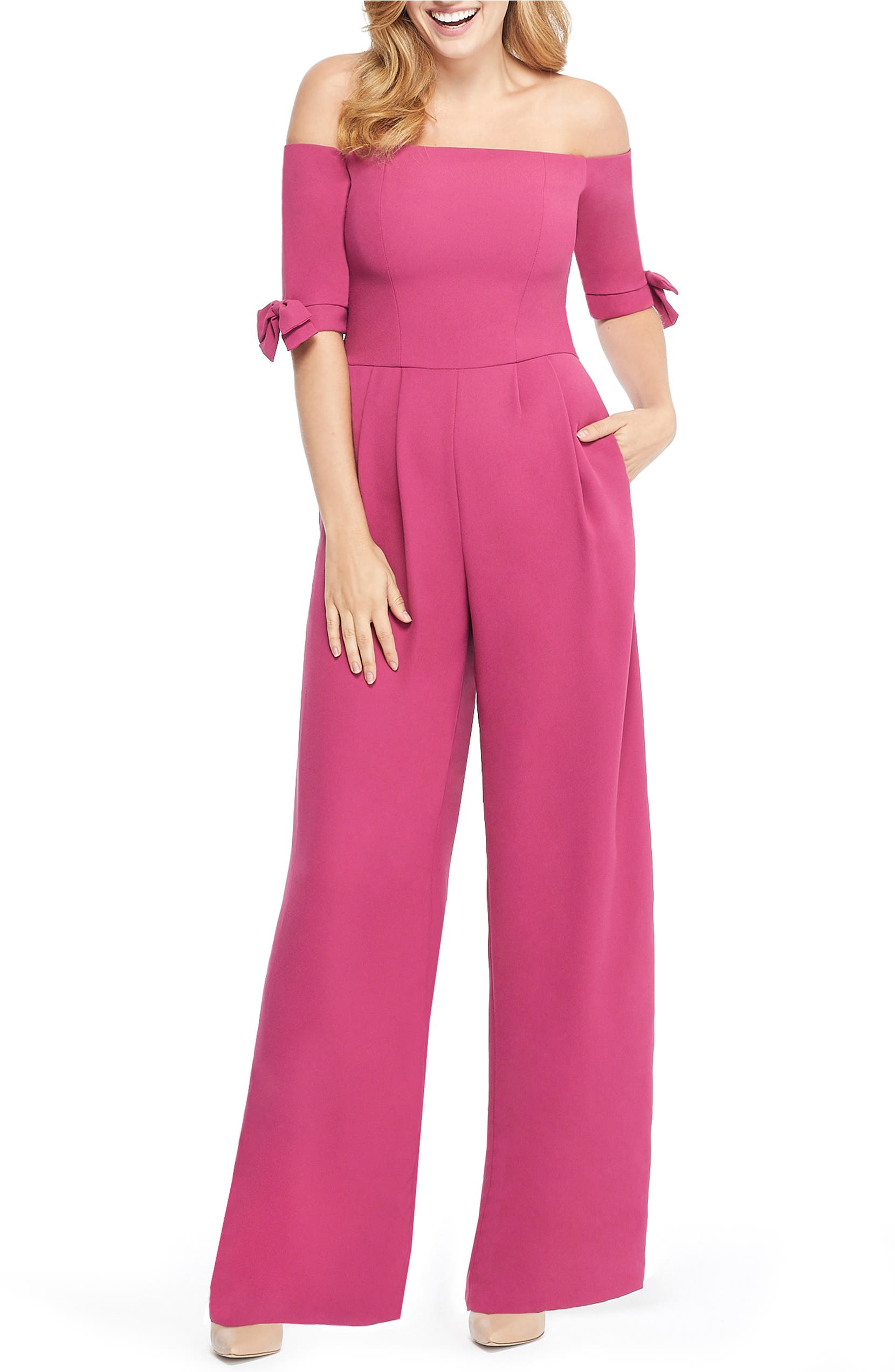 Gal Meets Glam Collection Meredith Crepe Off the Shoulder Jumpsuit