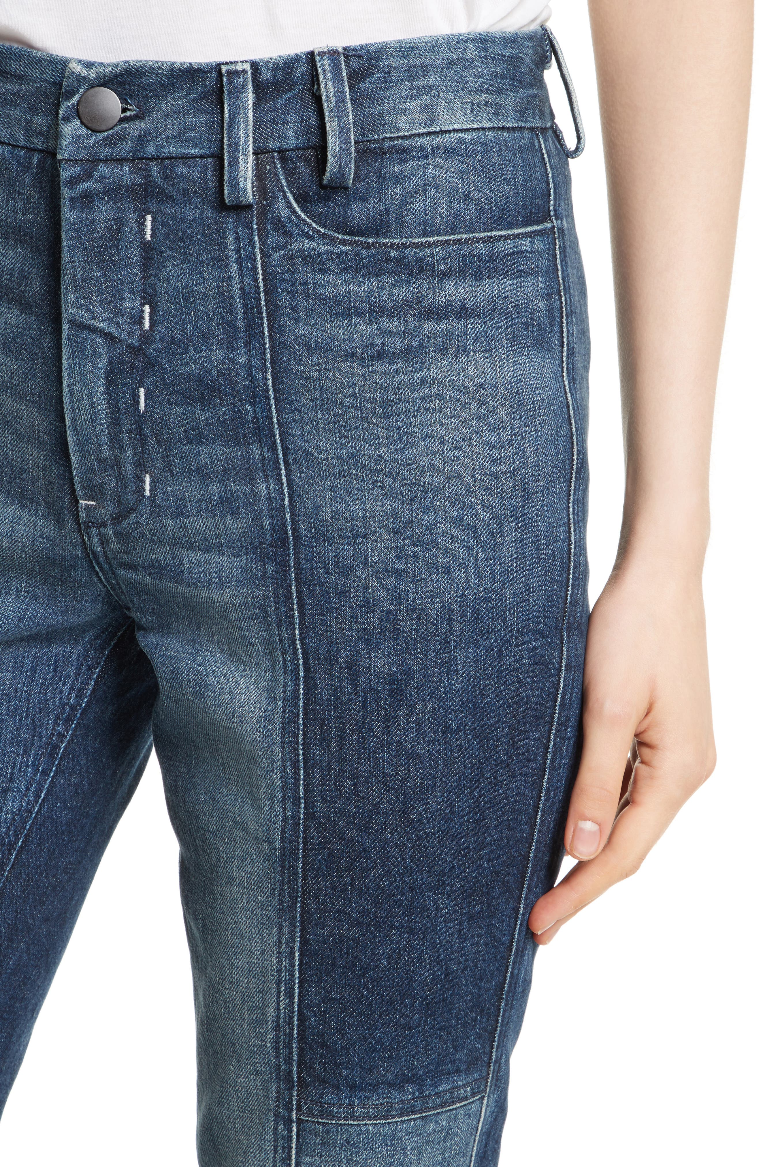Frayed Seamed Crop Jeans,                             Alternate thumbnail 4, color,                             410