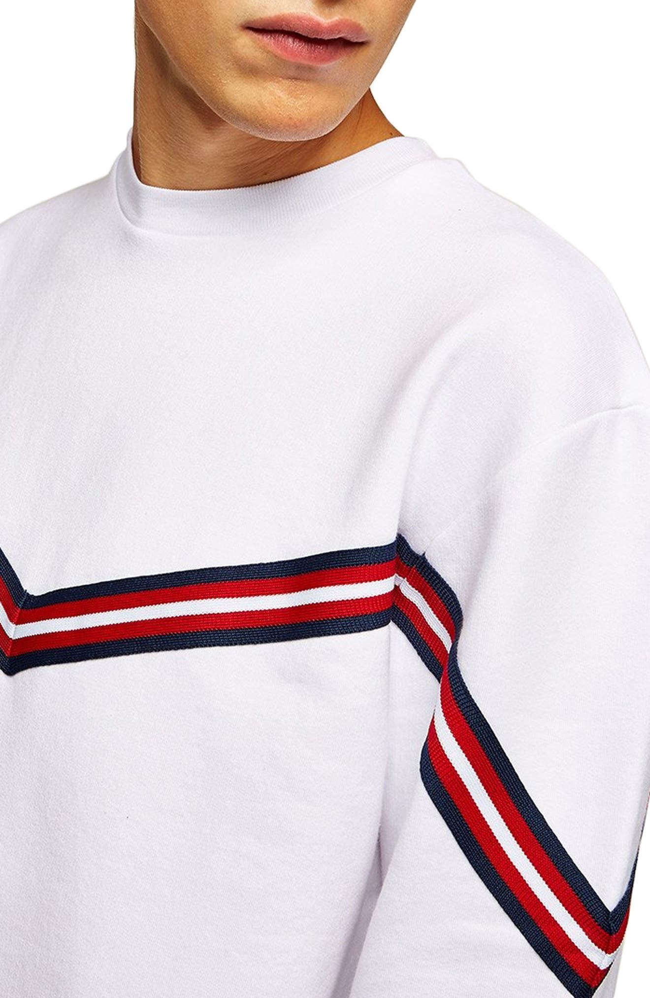 Chevron Tape Sweatshirt,                             Alternate thumbnail 3, color,                             WHITE MULTI