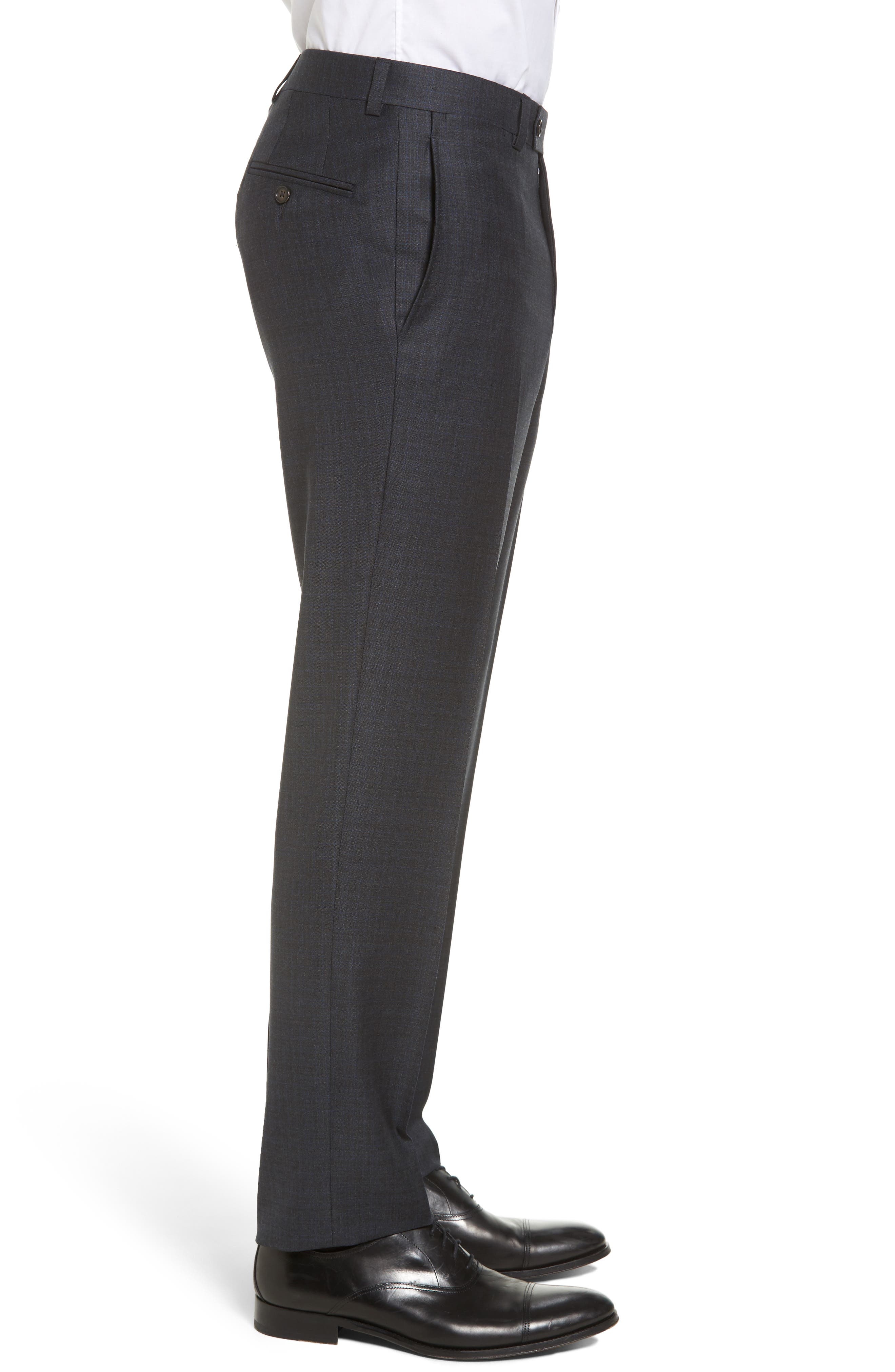 Jefferson Flat Front Solid Wool Trousers,                             Alternate thumbnail 4, color,                             020