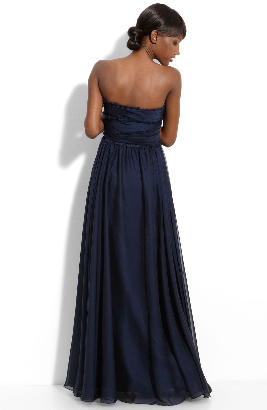 ML Monique Lhuillier Bridesmaids Strapless Chiffon Gown,                             Alternate thumbnail 25, color,