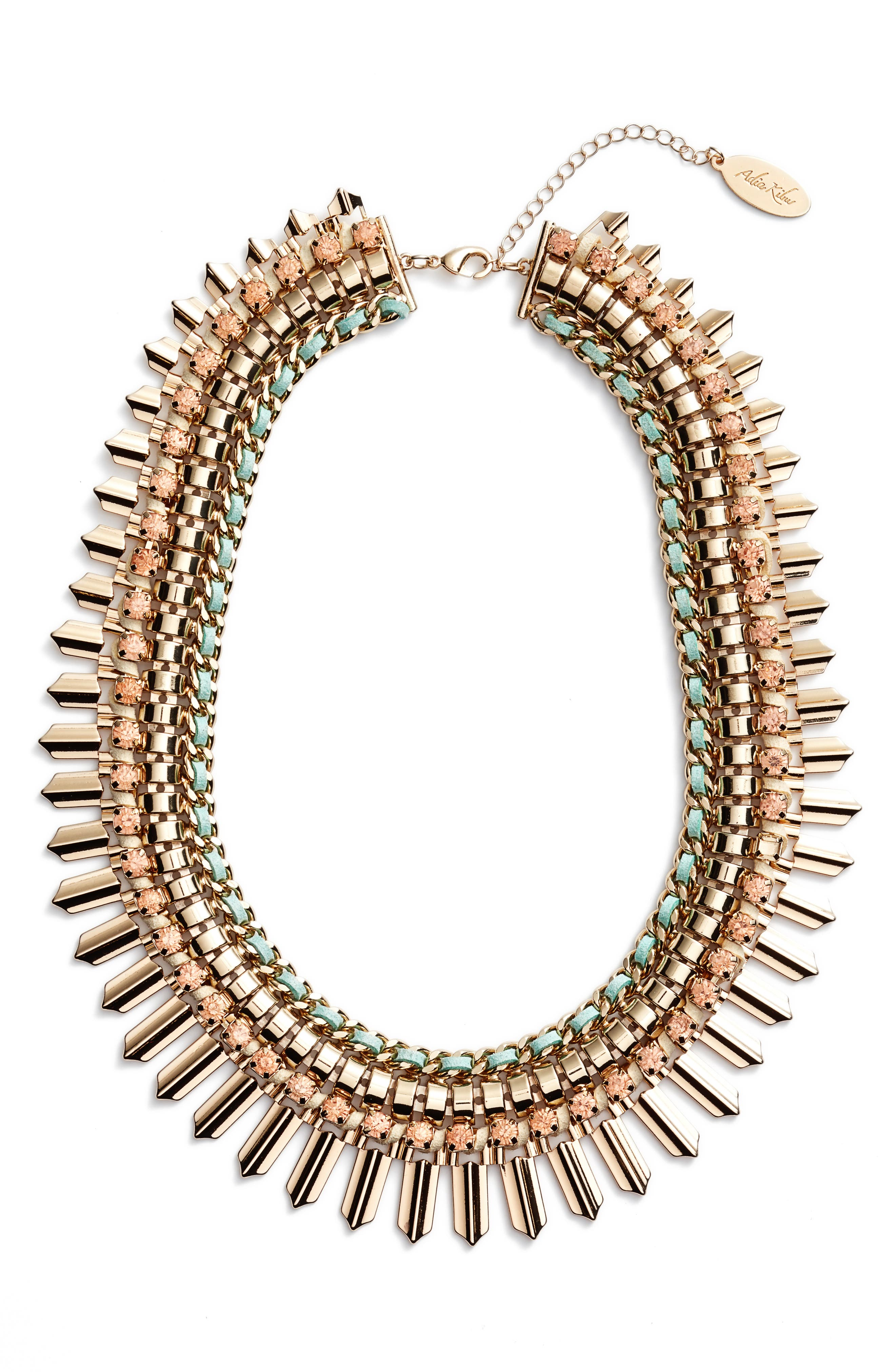 Crystal & Suede Statement Necklace,                             Main thumbnail 1, color,                             MINT GREEN