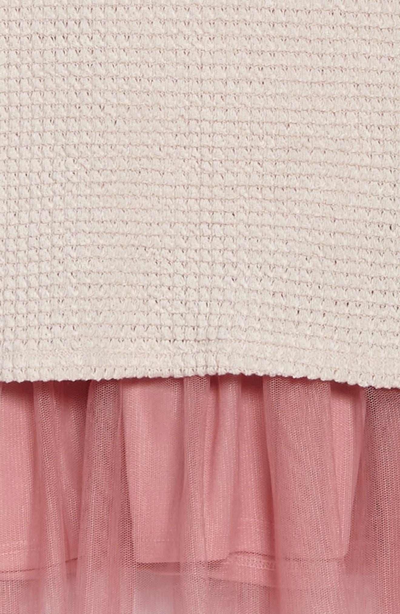 Sweater Knit Tulle Dress,                             Alternate thumbnail 3, color,