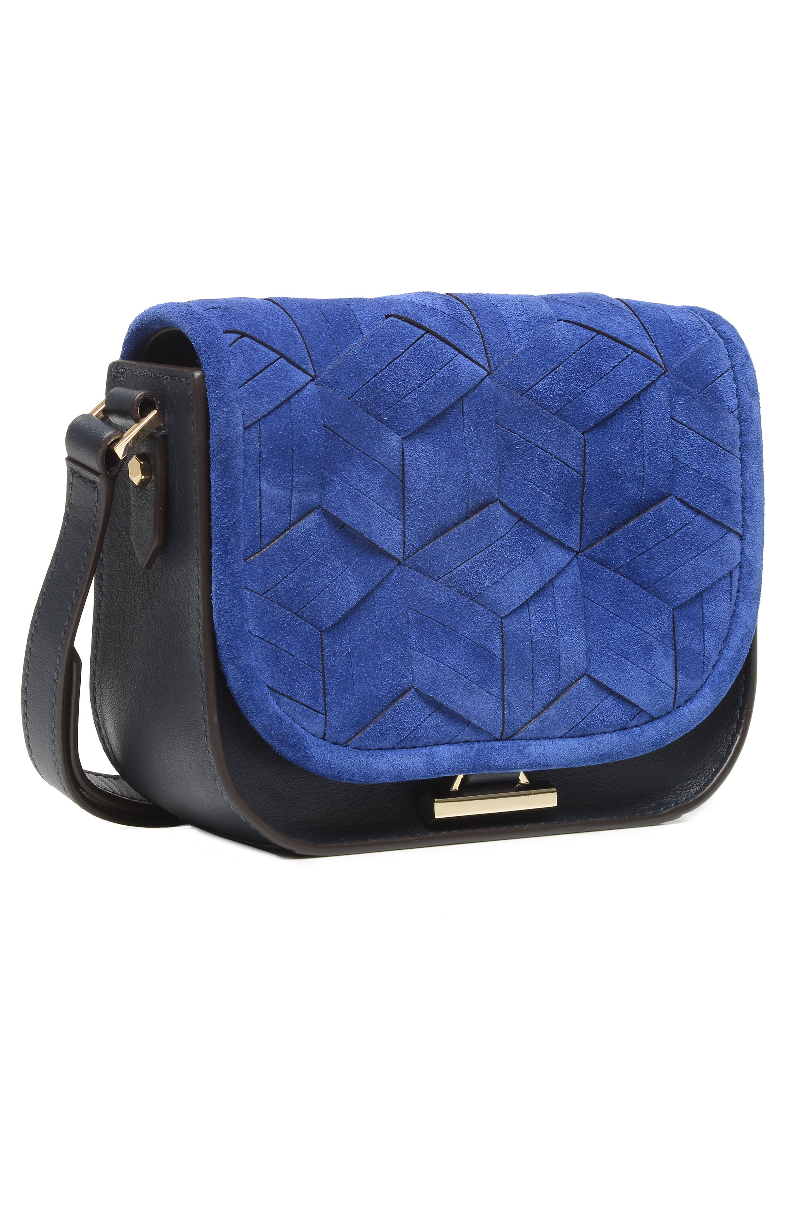 Mini Summit Suede & Leather Crossbody Bag,                             Alternate thumbnail 5, color,                             400
