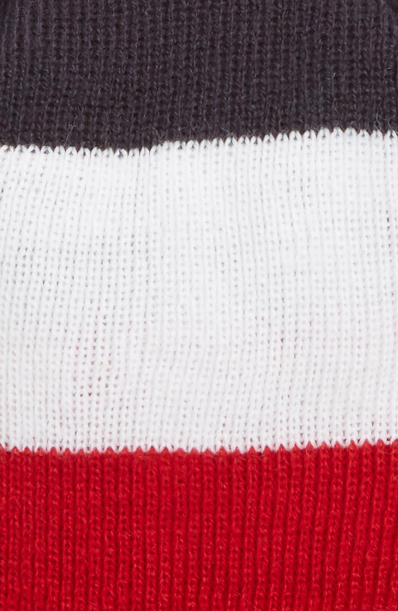 Pom Beanie,                             Alternate thumbnail 3, color,                             RUGBY STRIPE WHITE/ SCARLET