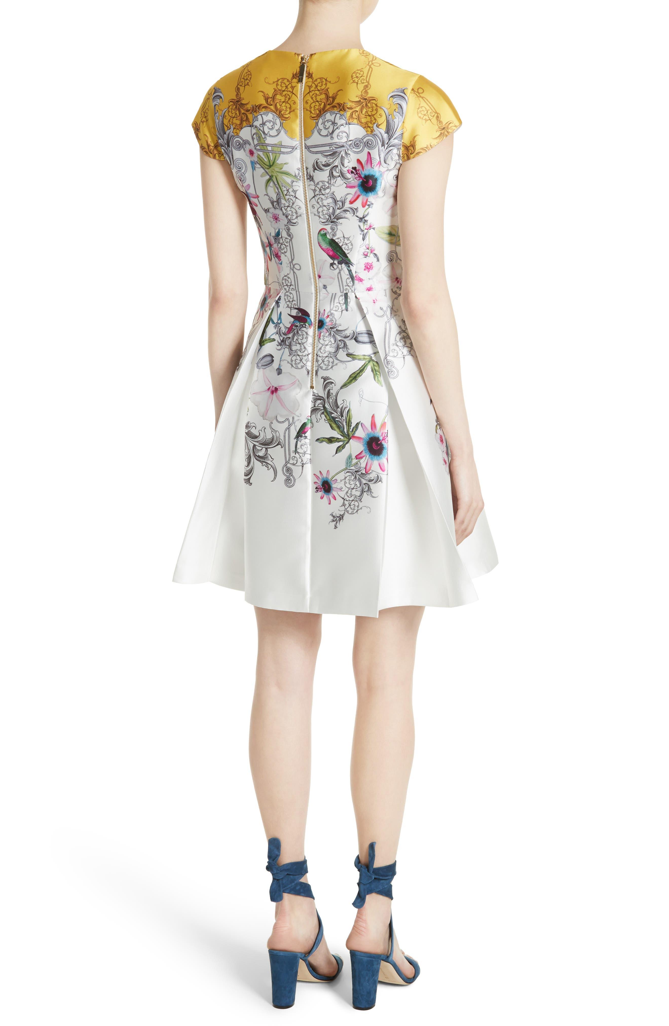 Reliat Passion Flower Cap Sleeve Dress,                             Alternate thumbnail 2, color,                             100