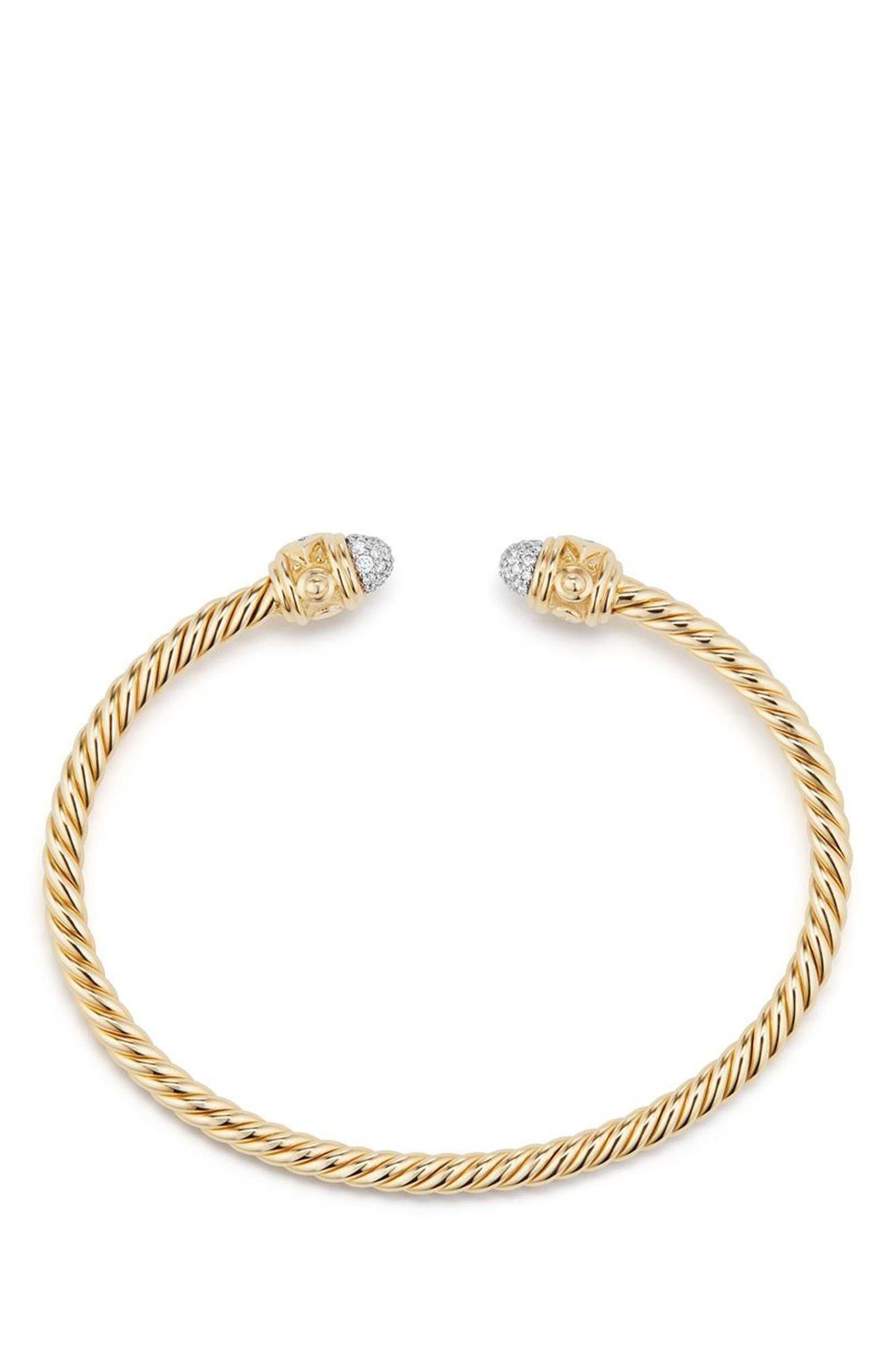 Renaissance 18k Gold Bracelet with Diamonds,                             Alternate thumbnail 2, color,                             GOLD/ DIAMOND