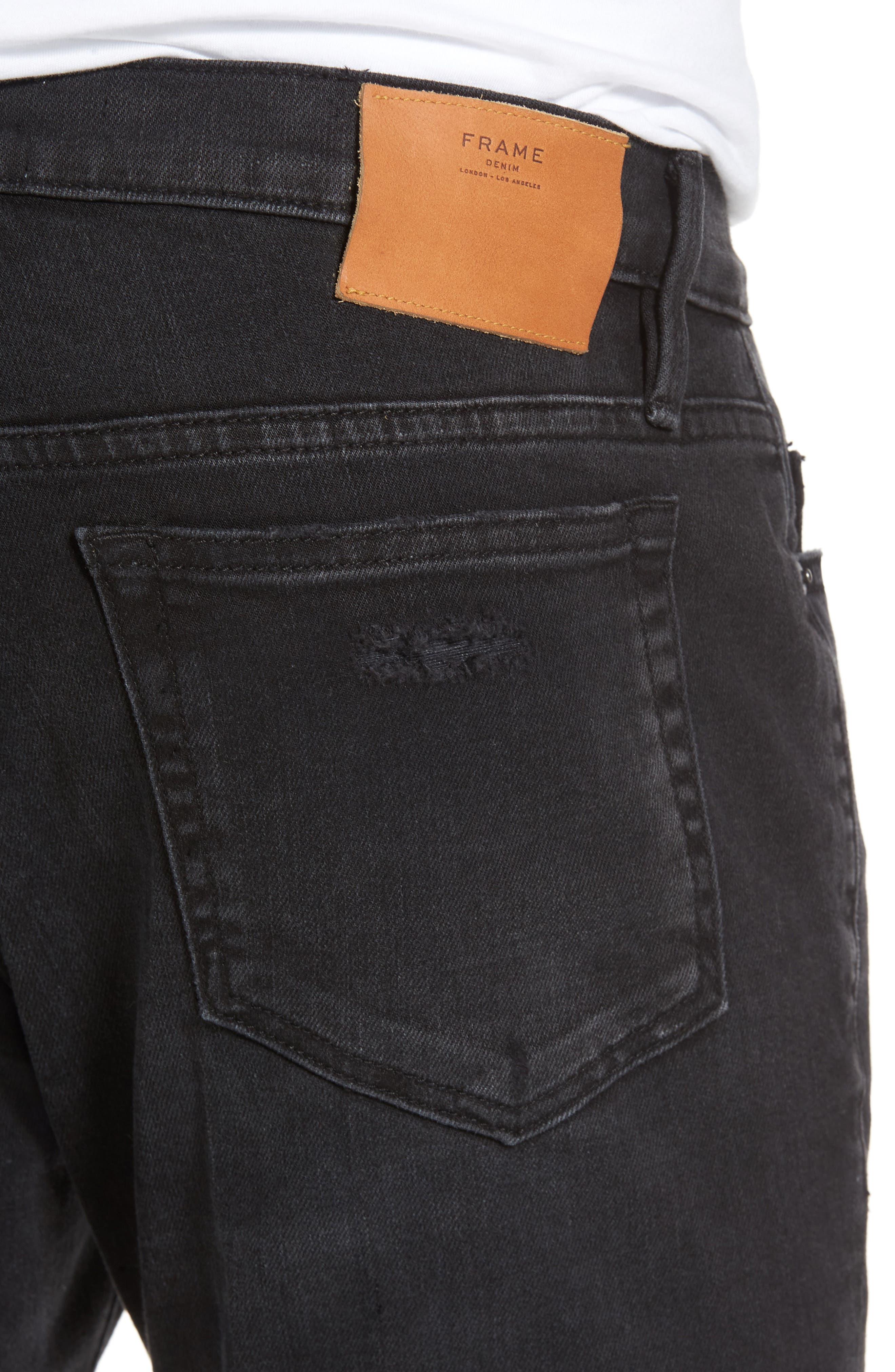L'Homme Skinny Fit Jeans,                             Alternate thumbnail 4, color,                             001