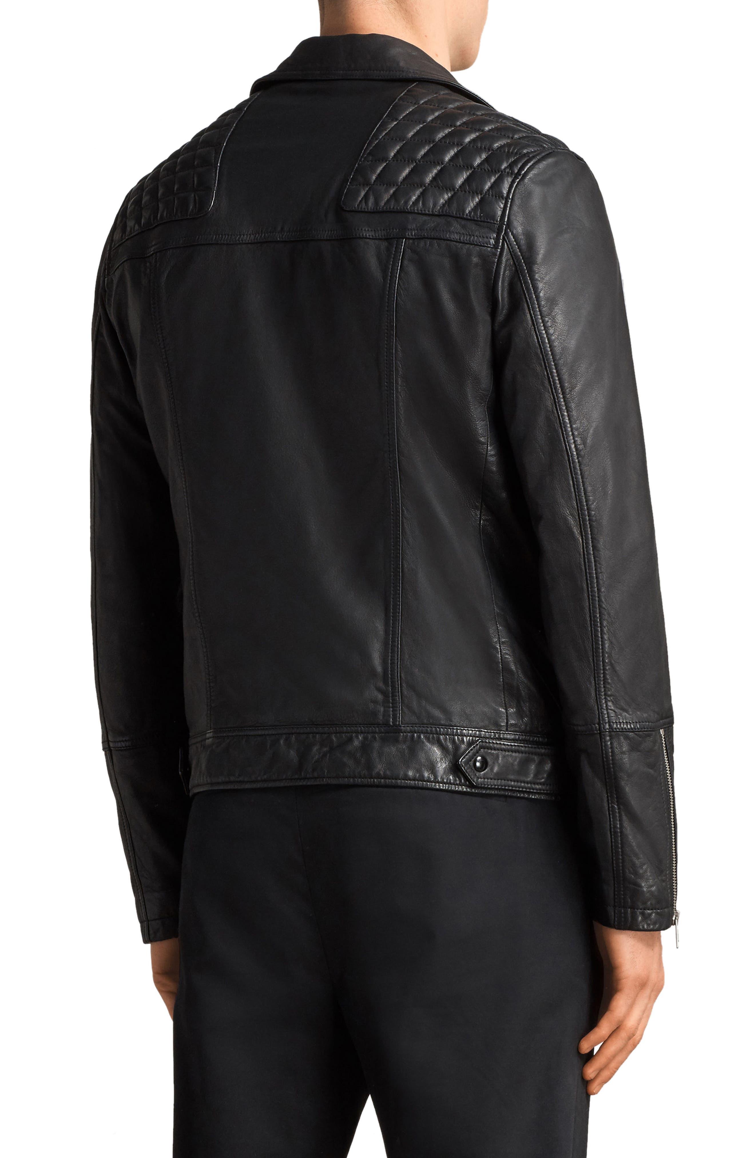 Taro Slim Fit Leather Biker Jacket,                             Alternate thumbnail 2, color,                             001