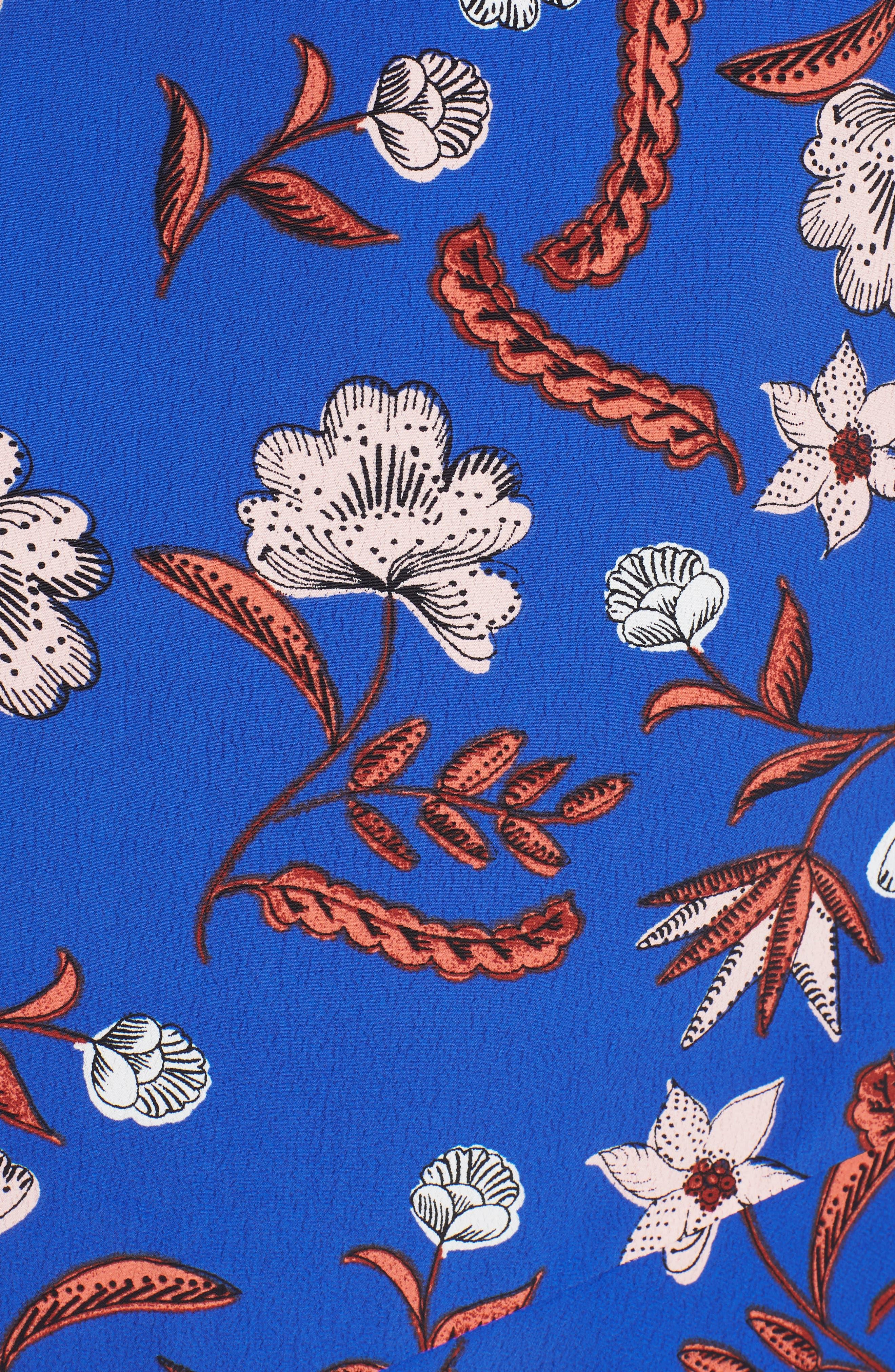 Asymmetrical Ruffle Hem Dress,                             Alternate thumbnail 6, color,                             BLUE FLORAL