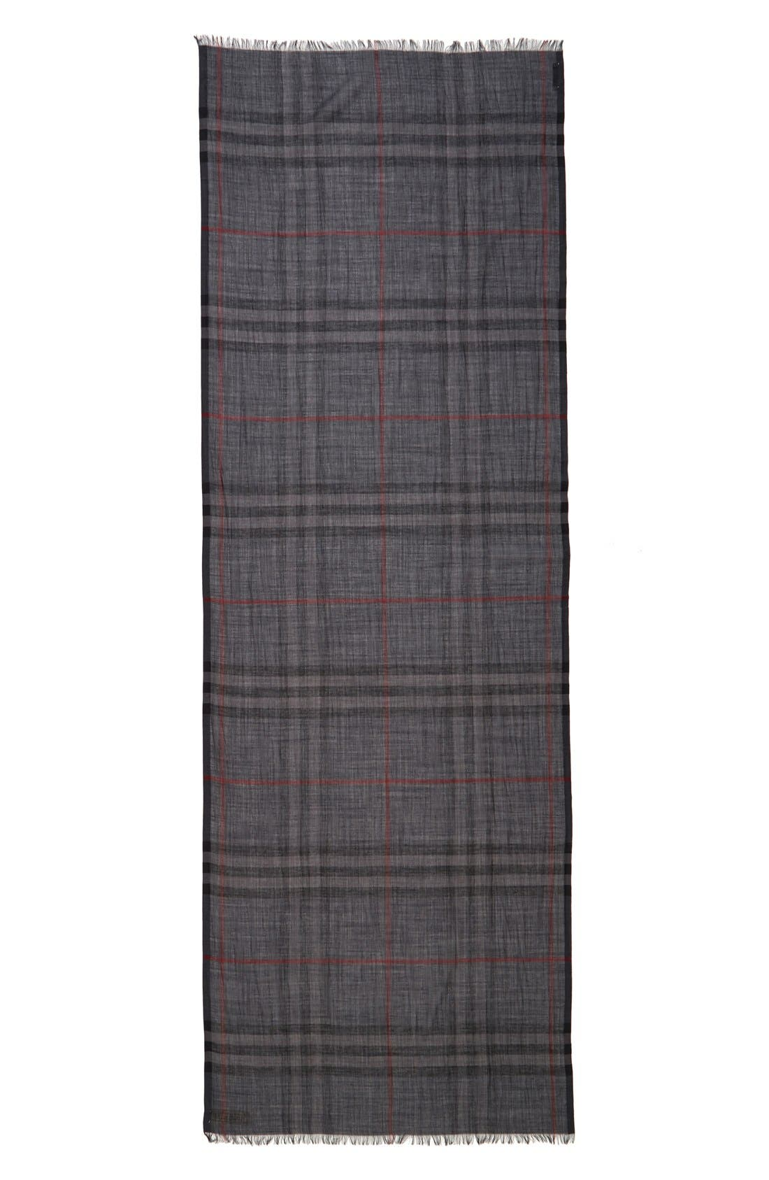 Giant Check Print Wool & Silk Scarf,                             Alternate thumbnail 152, color,