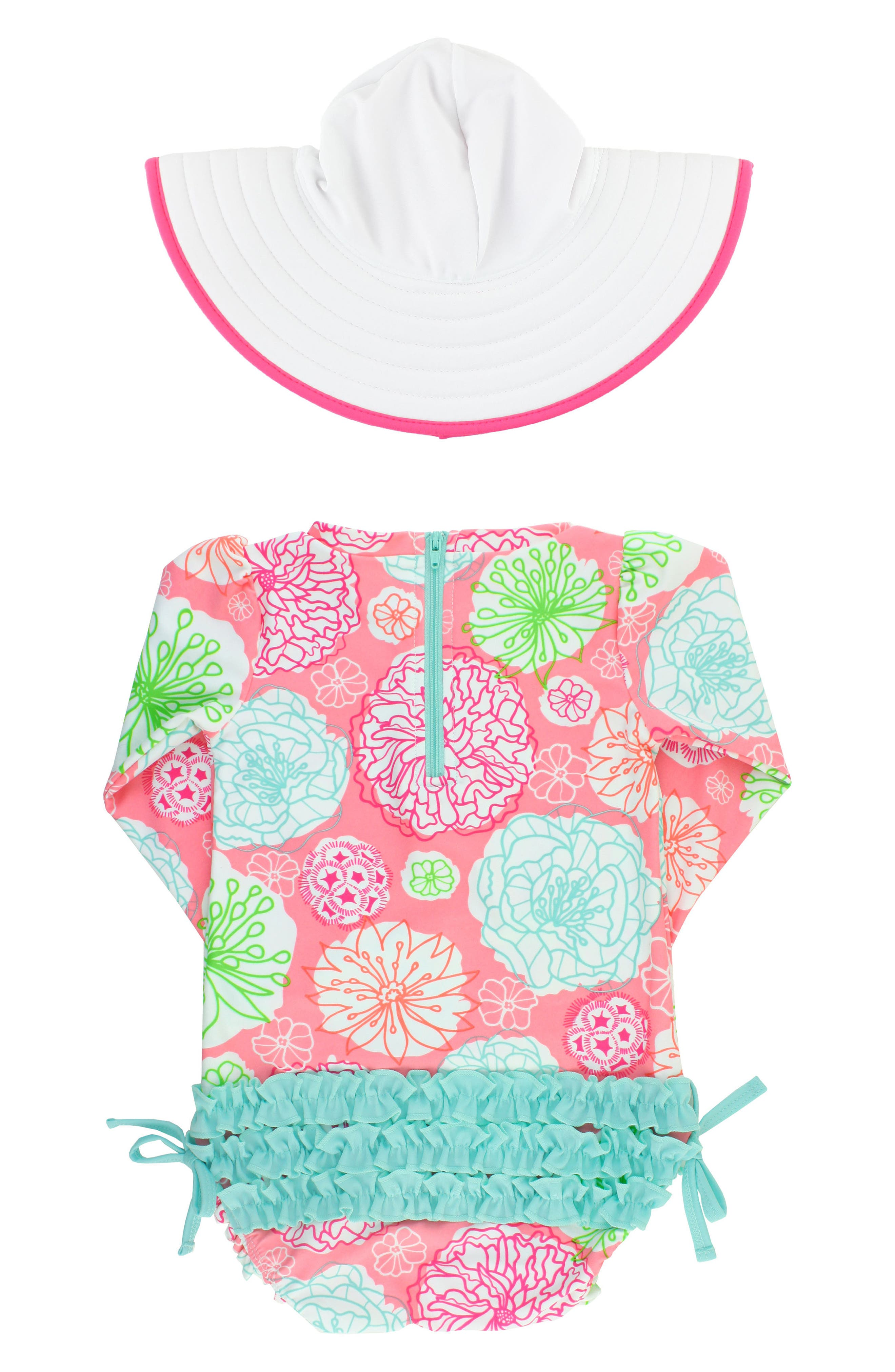 Tropical Garden One-Piece Rashguard Swimsuit & Reversible Sun Hat Set,                             Alternate thumbnail 2, color,                             PINK